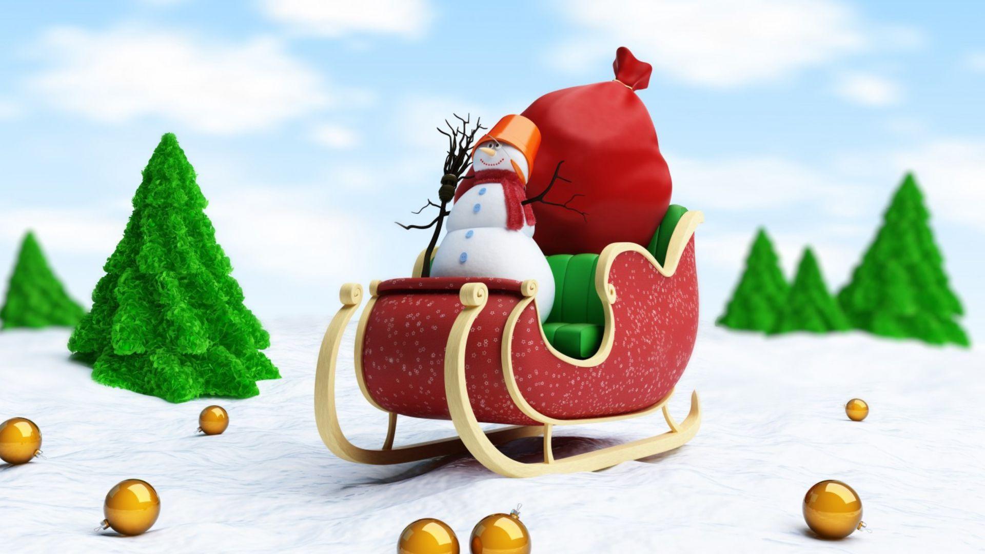 Christmas Sleigh Wallpaper Image