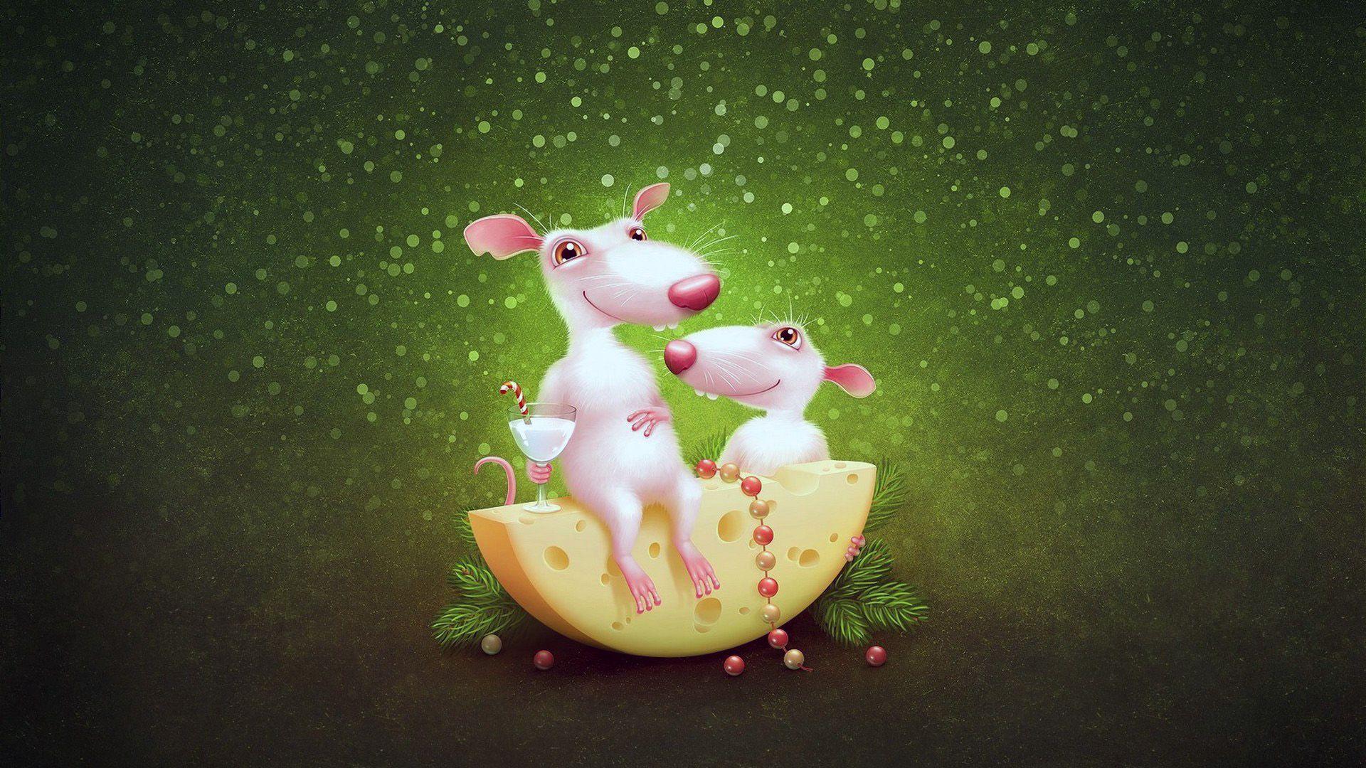 Christmas White Rat Background