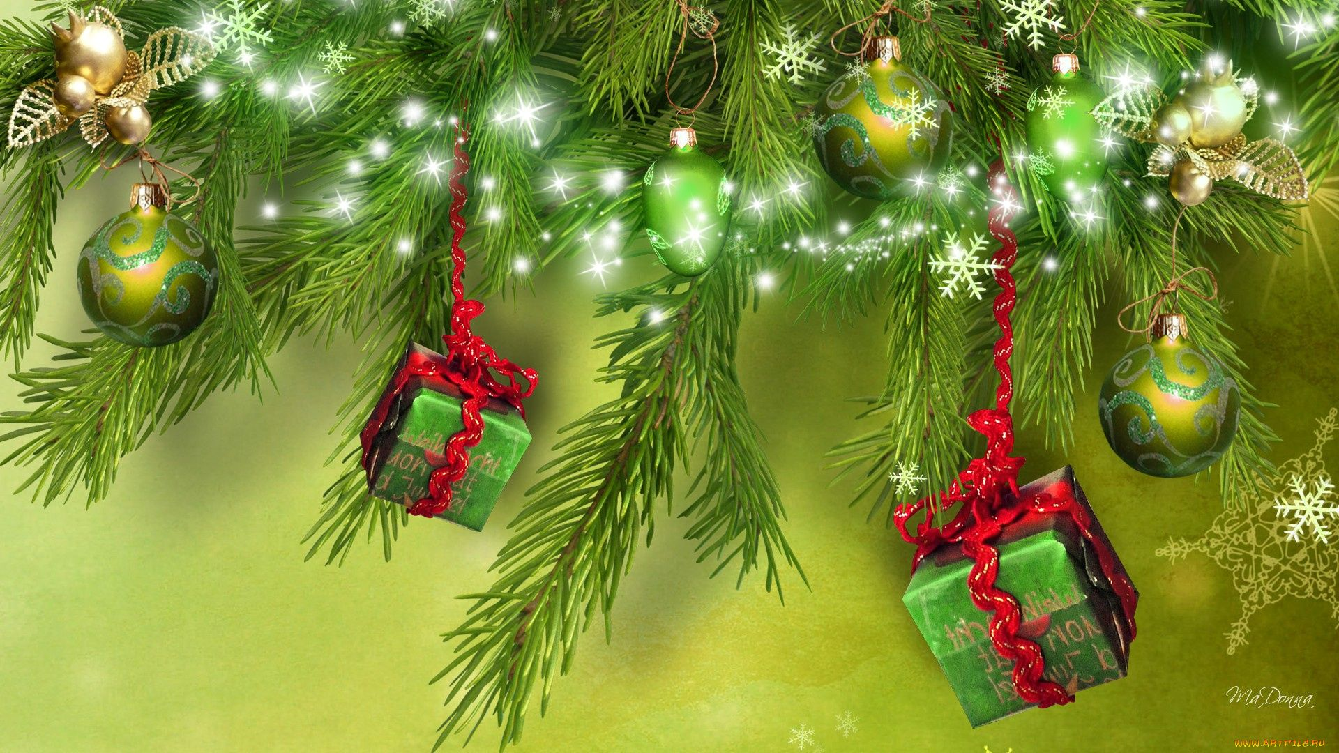 Green Christmas hd wallpaper download