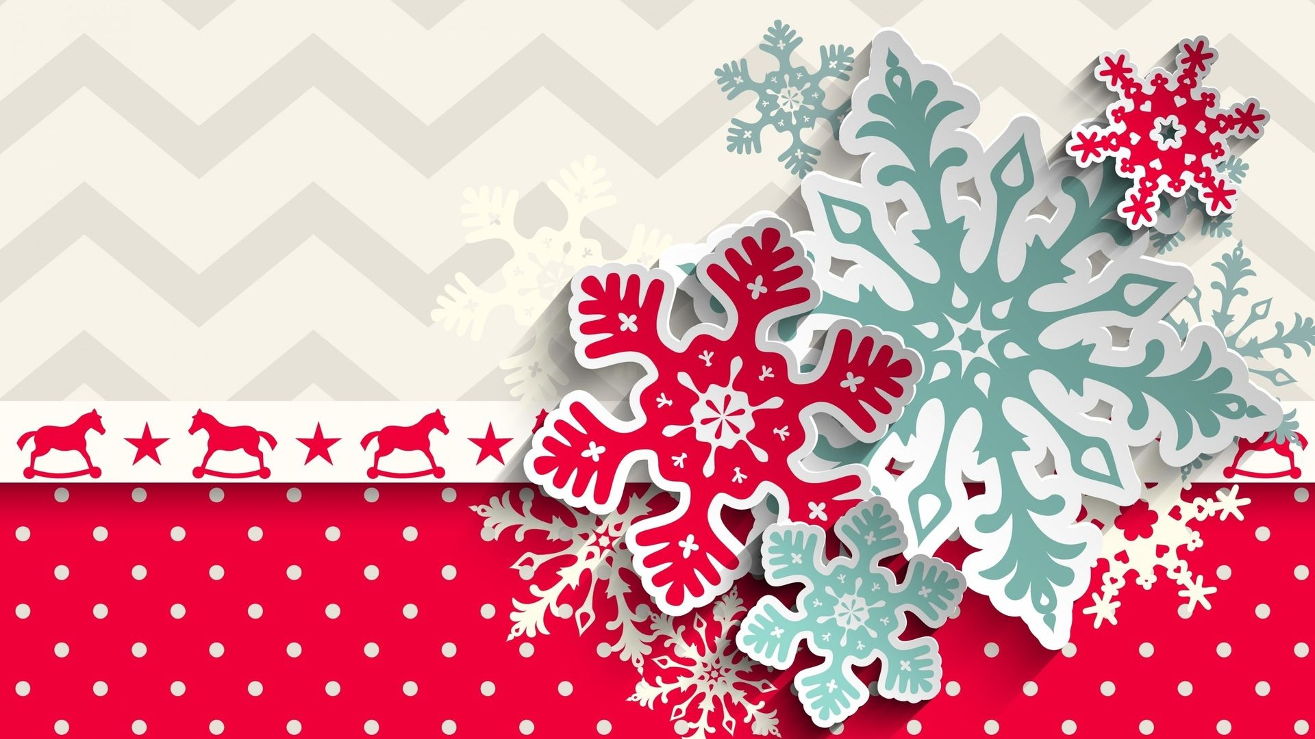 New Year With Snowflakes 1920x1080 wallpaper