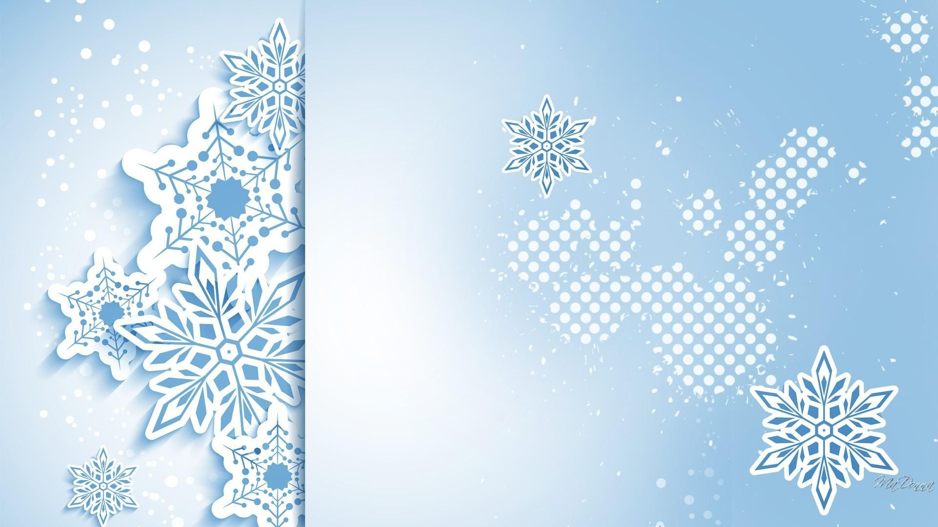 New Year With Snowflakes HD Desktop Wallpaper