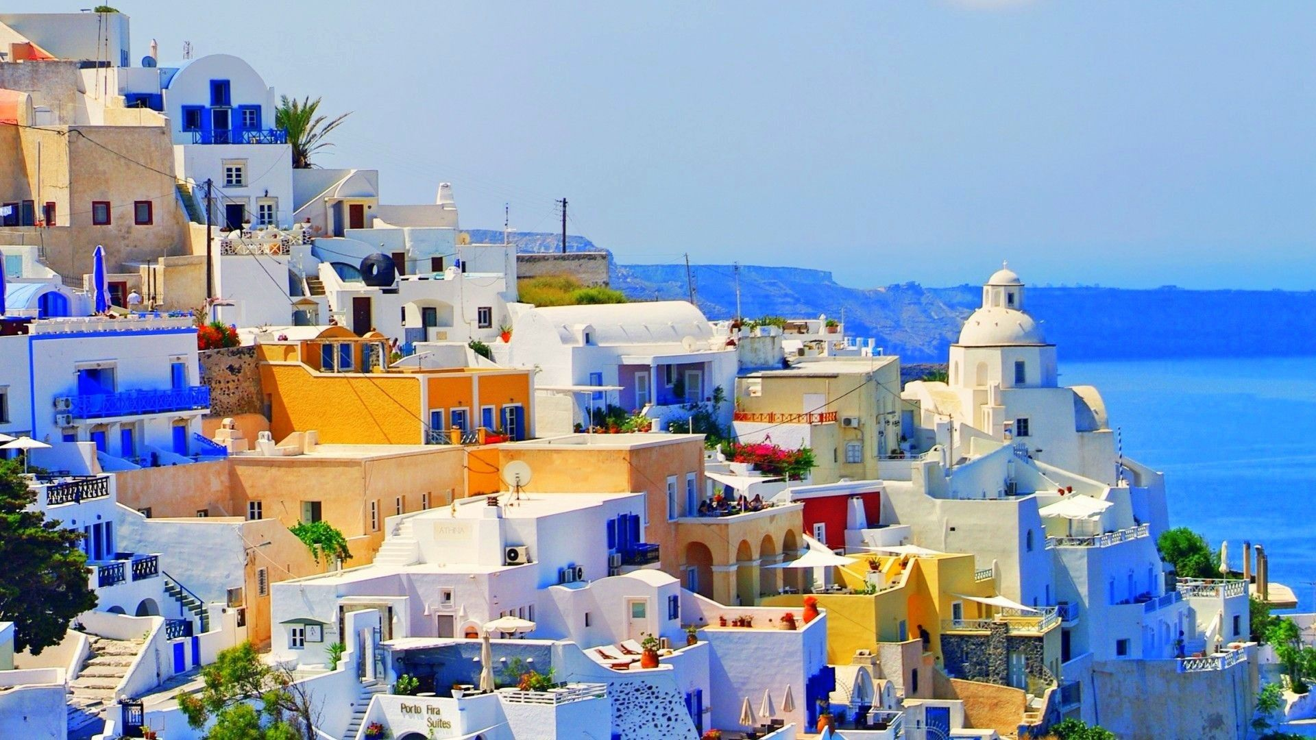 Santorini Full HD Wallpaper