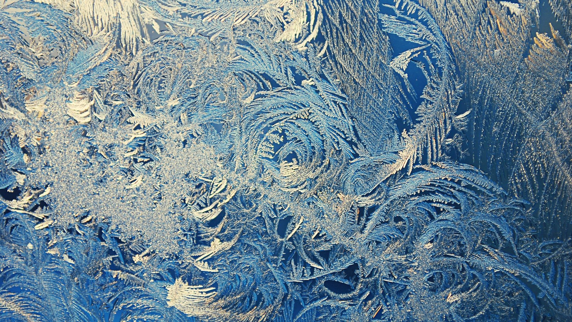 Winter Patterns On The Window Background