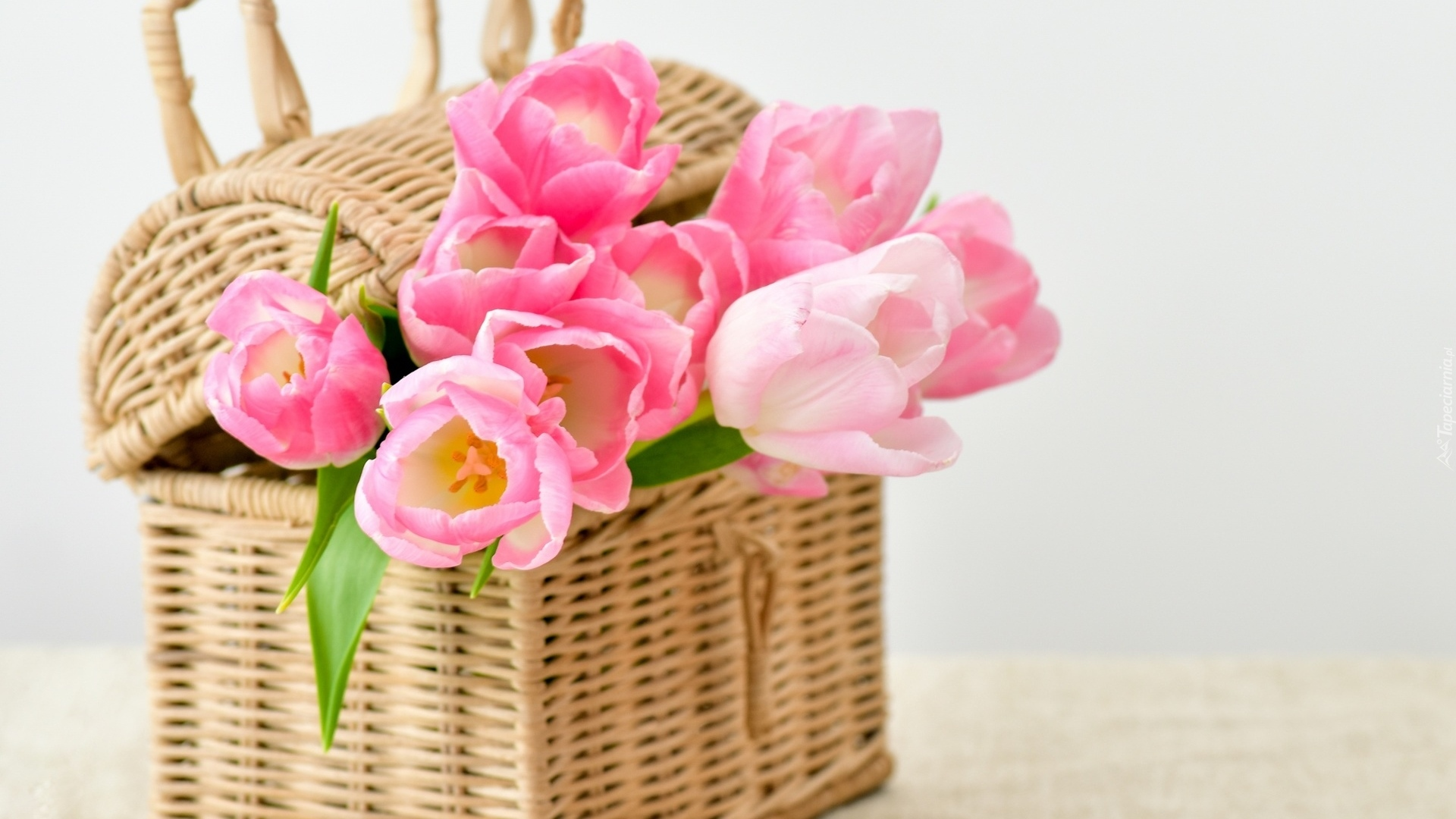 Basket With Flowers free hd wallpaper