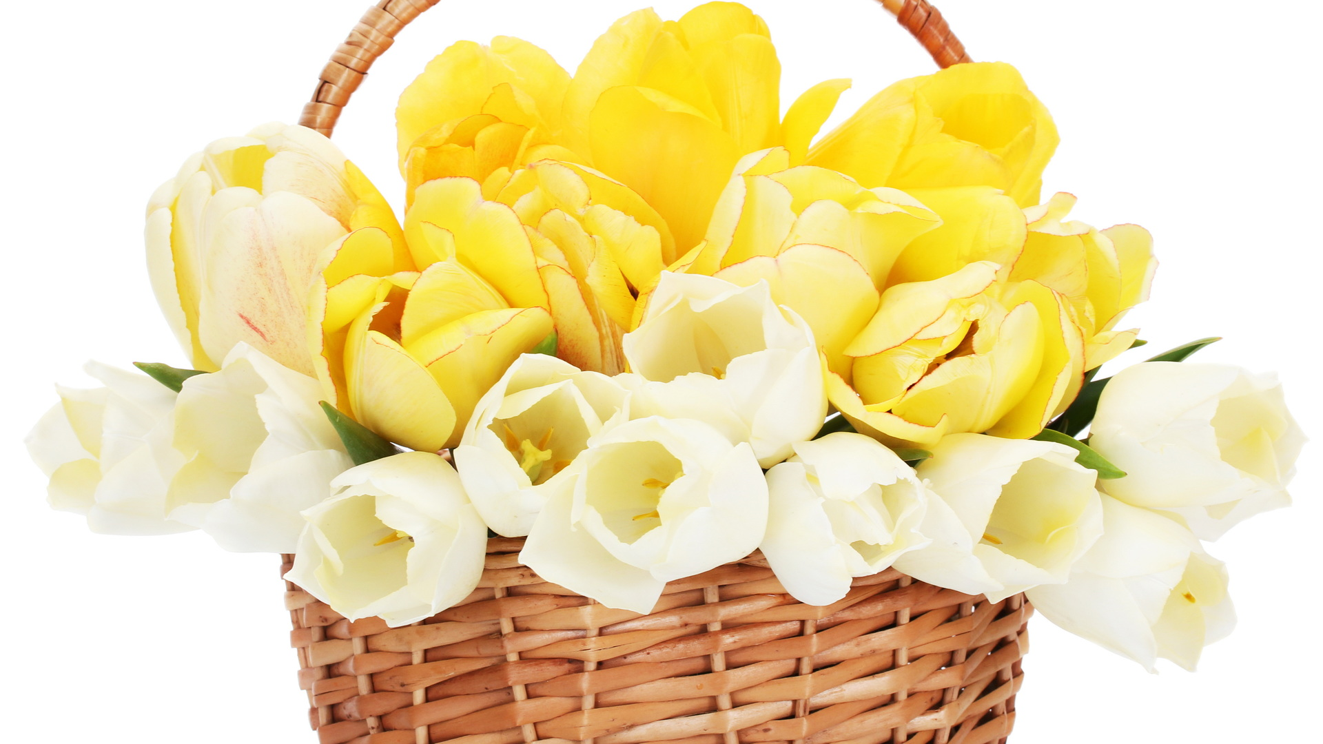 Basket With Flowers background wallpaper
