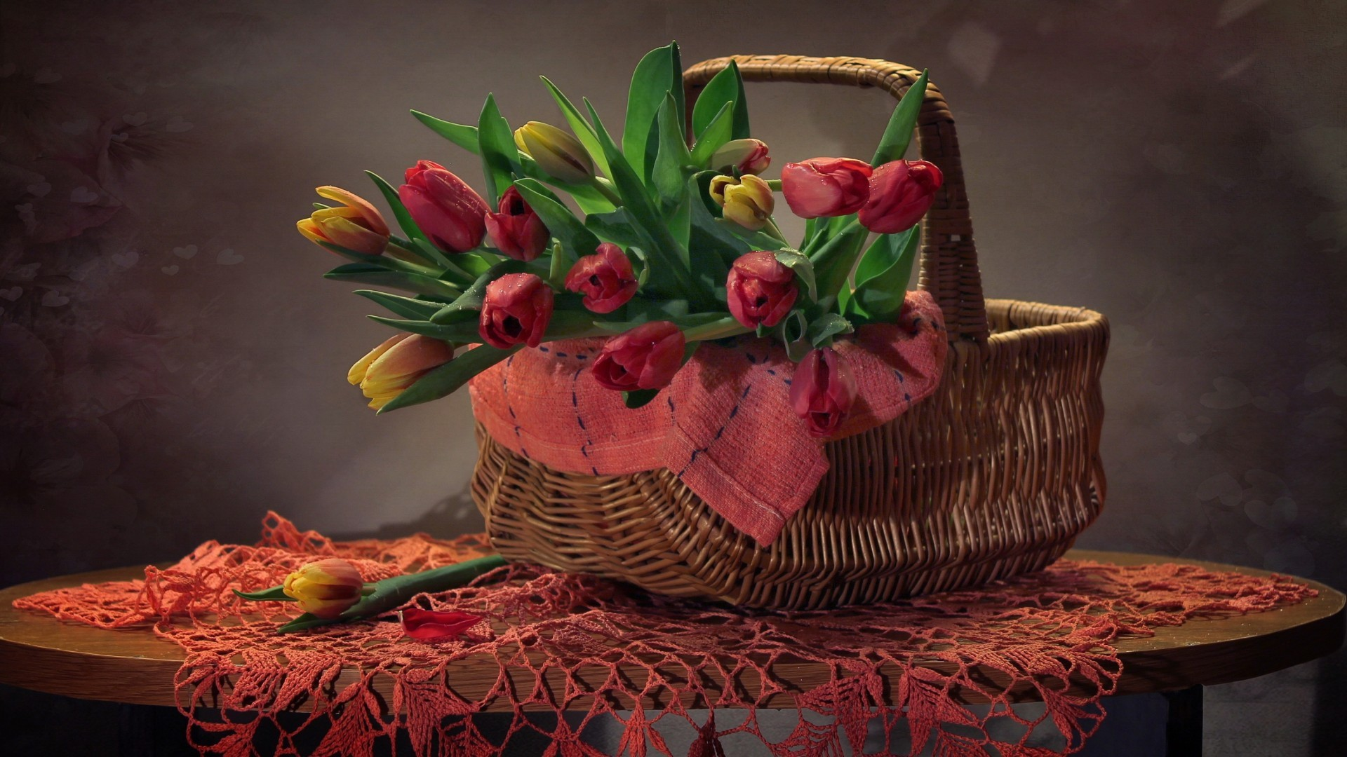 Basket With Flowers background