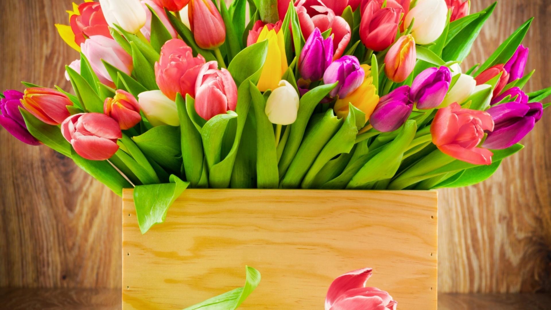 Basket With Flowers desktop image