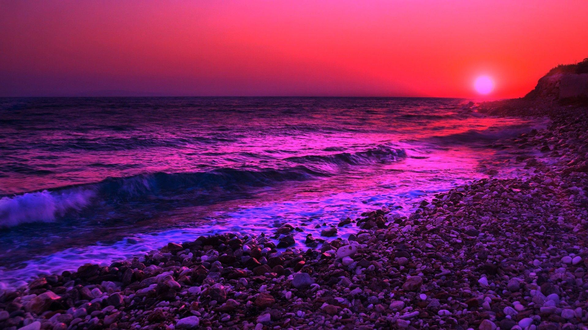 Purple Sunset computer wallpaper