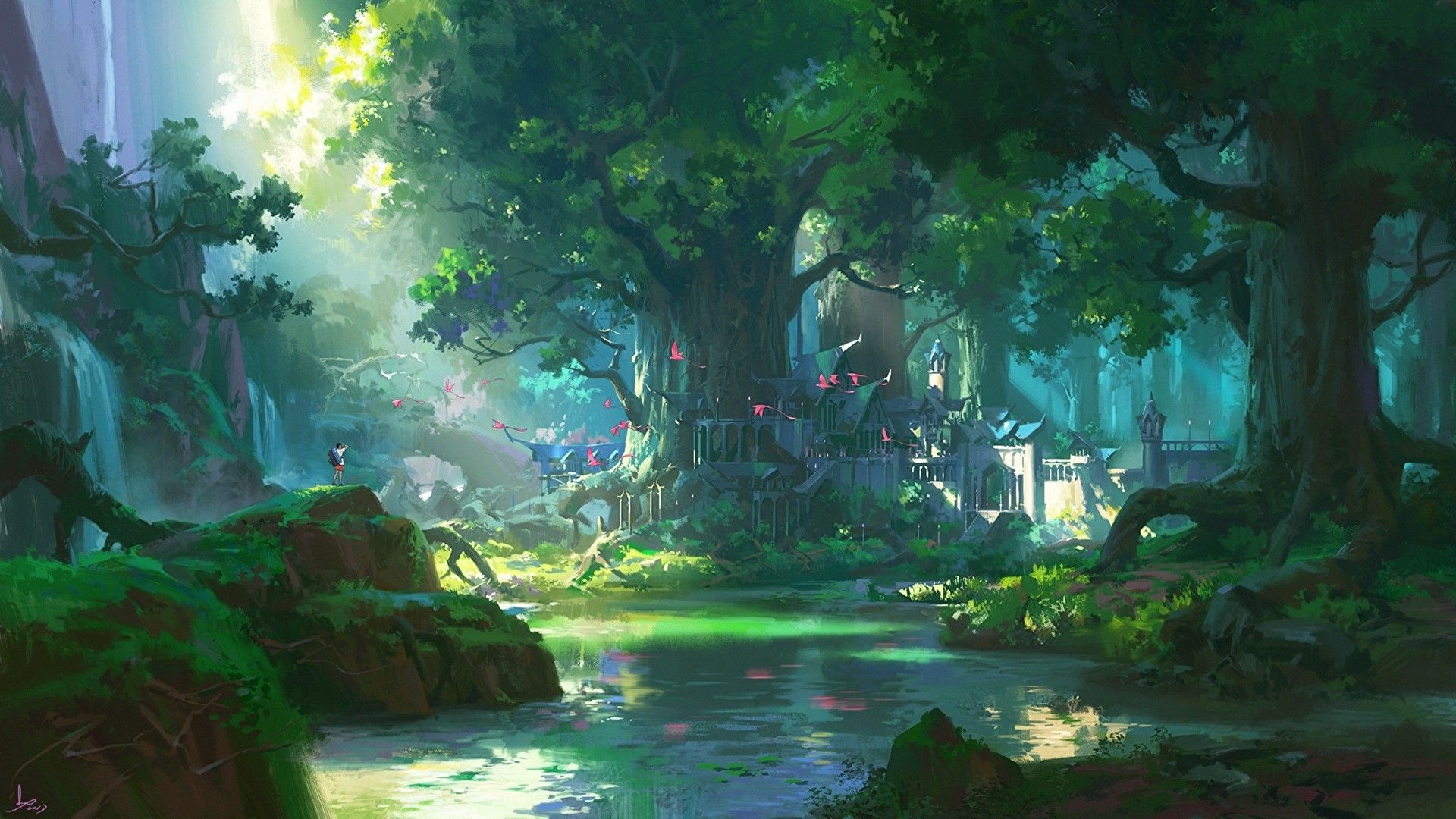 Anime Forest Background Wallpaper HD