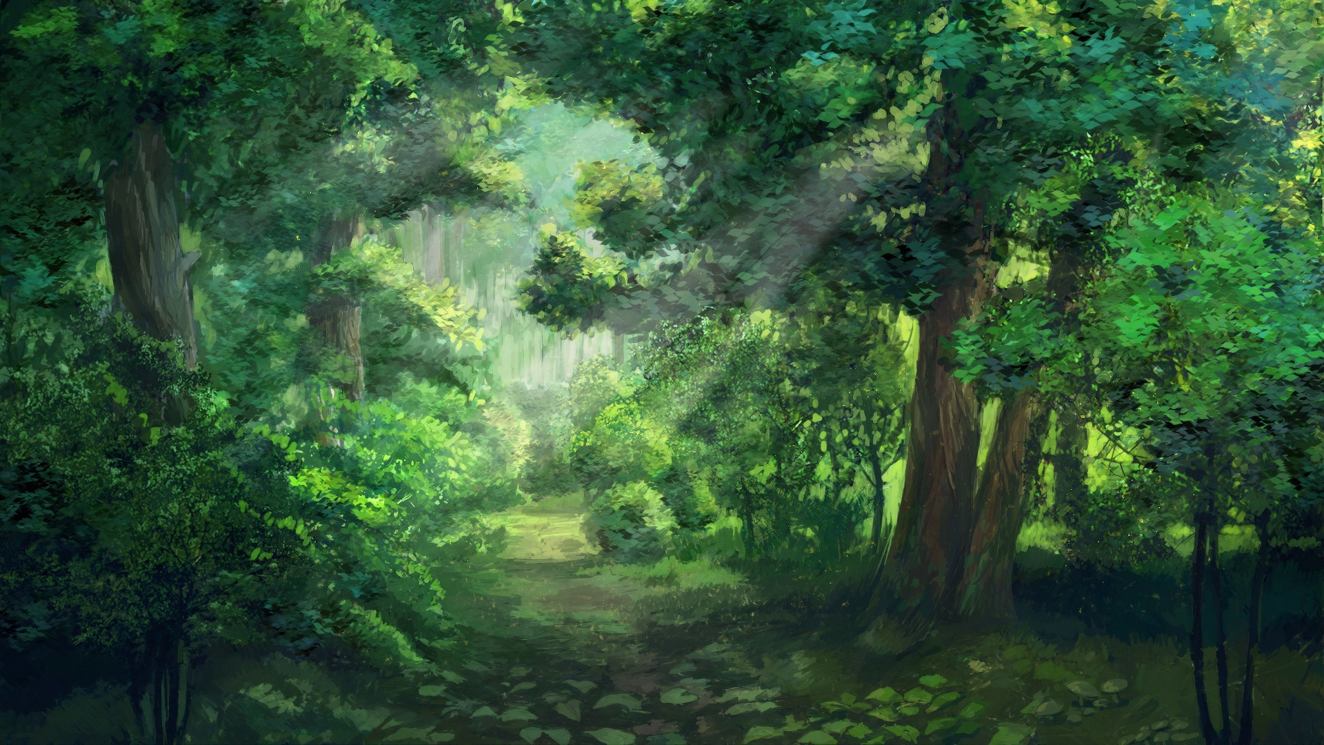 Anime Forest screen wallpaper