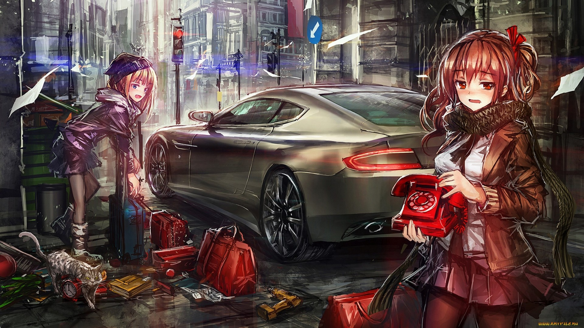 Anime Girl With Car Wallpaper 1920x1080