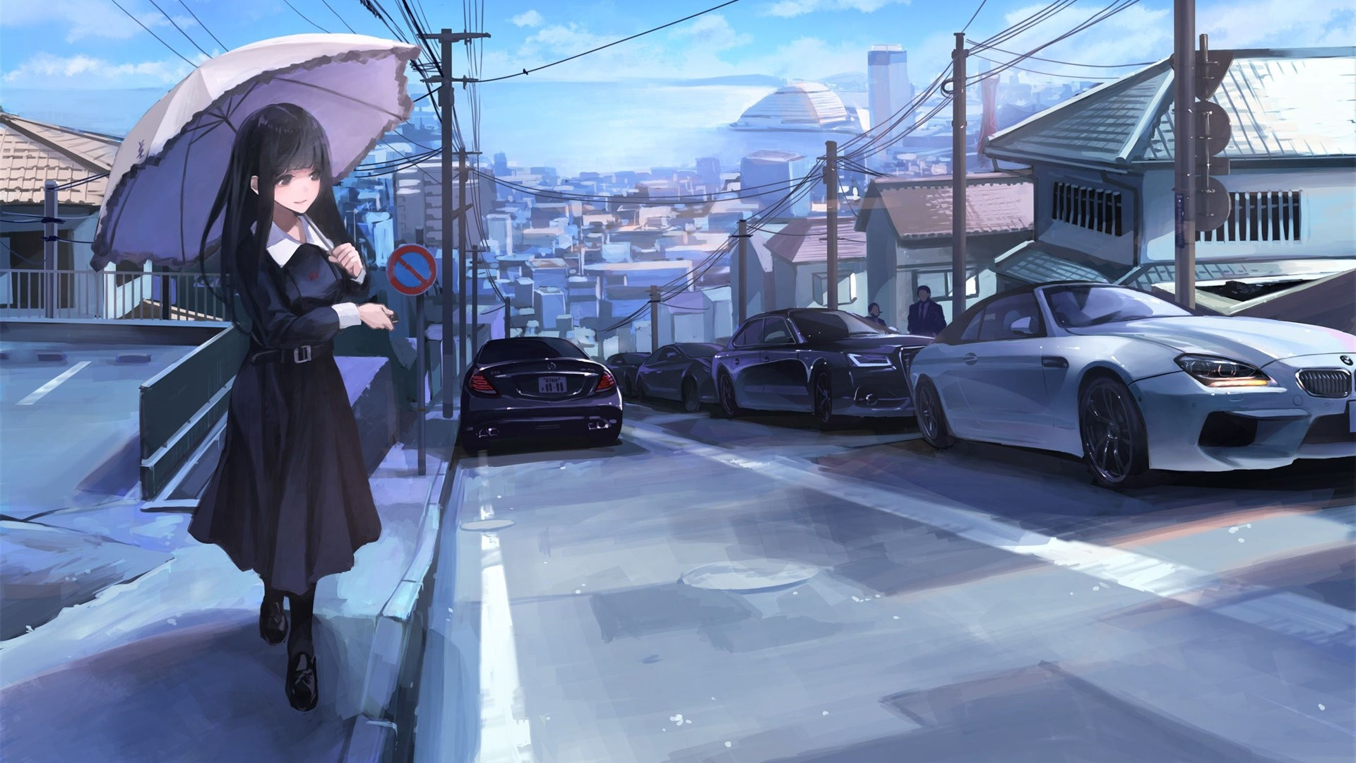 Anime Girl With Car Wallpaper For Pc