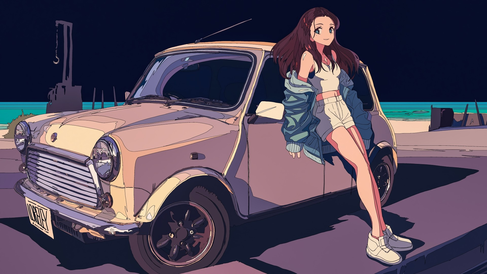 Anime Girl With Car Wallpaper Free Download
