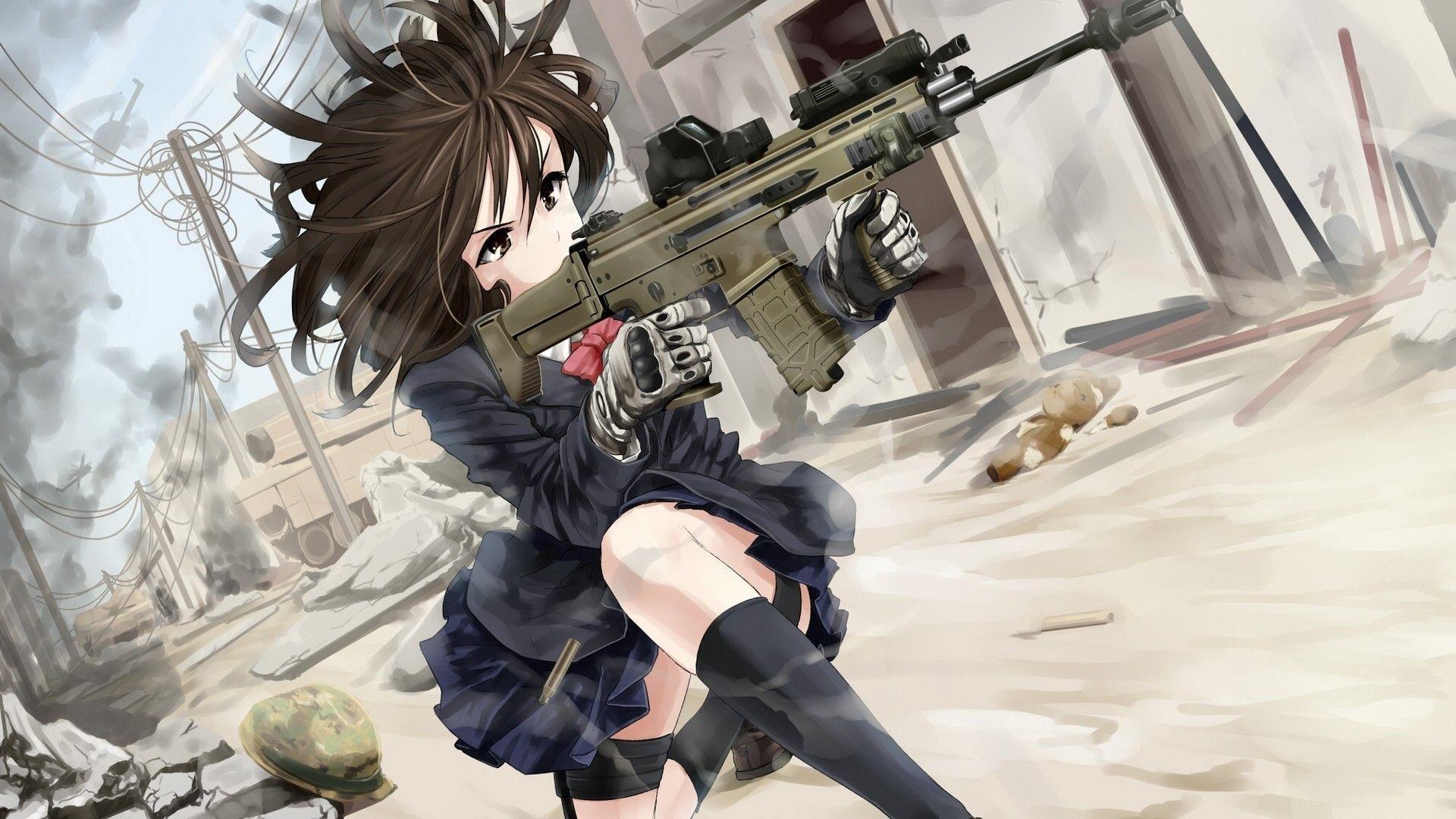 Anime Girls With Guns Wallpaper Desktop