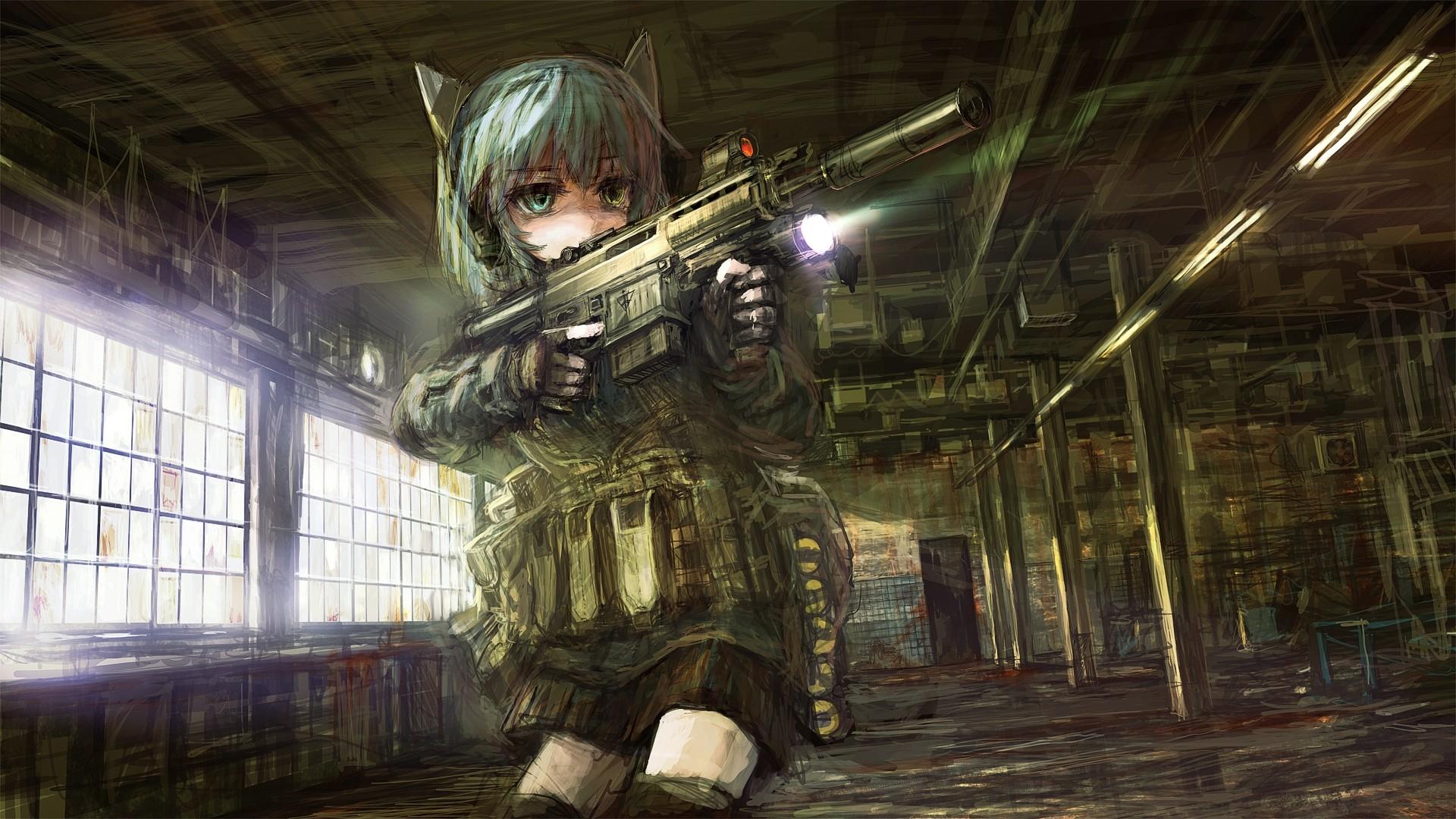 Anime Girls With Guns Wallpaper Free Download
