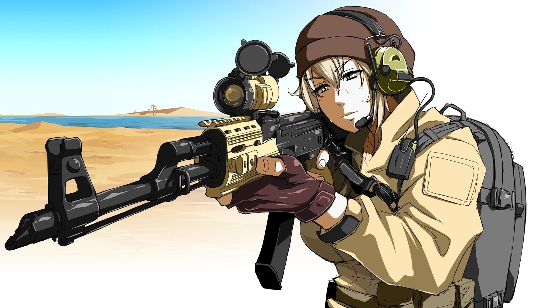Anime Girls With Guns Wallpaper HD