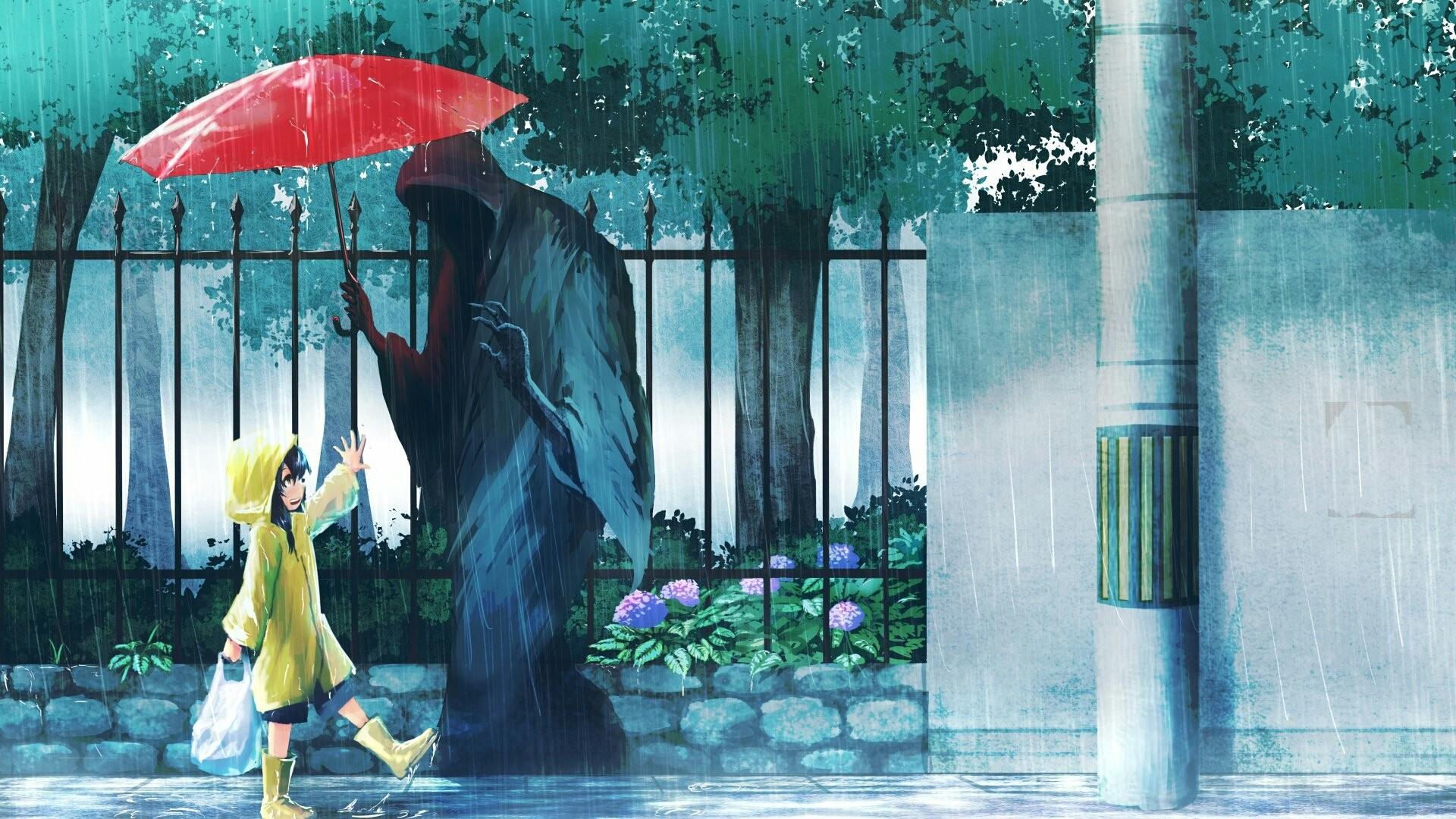 Anime Rain HD Wallpaper