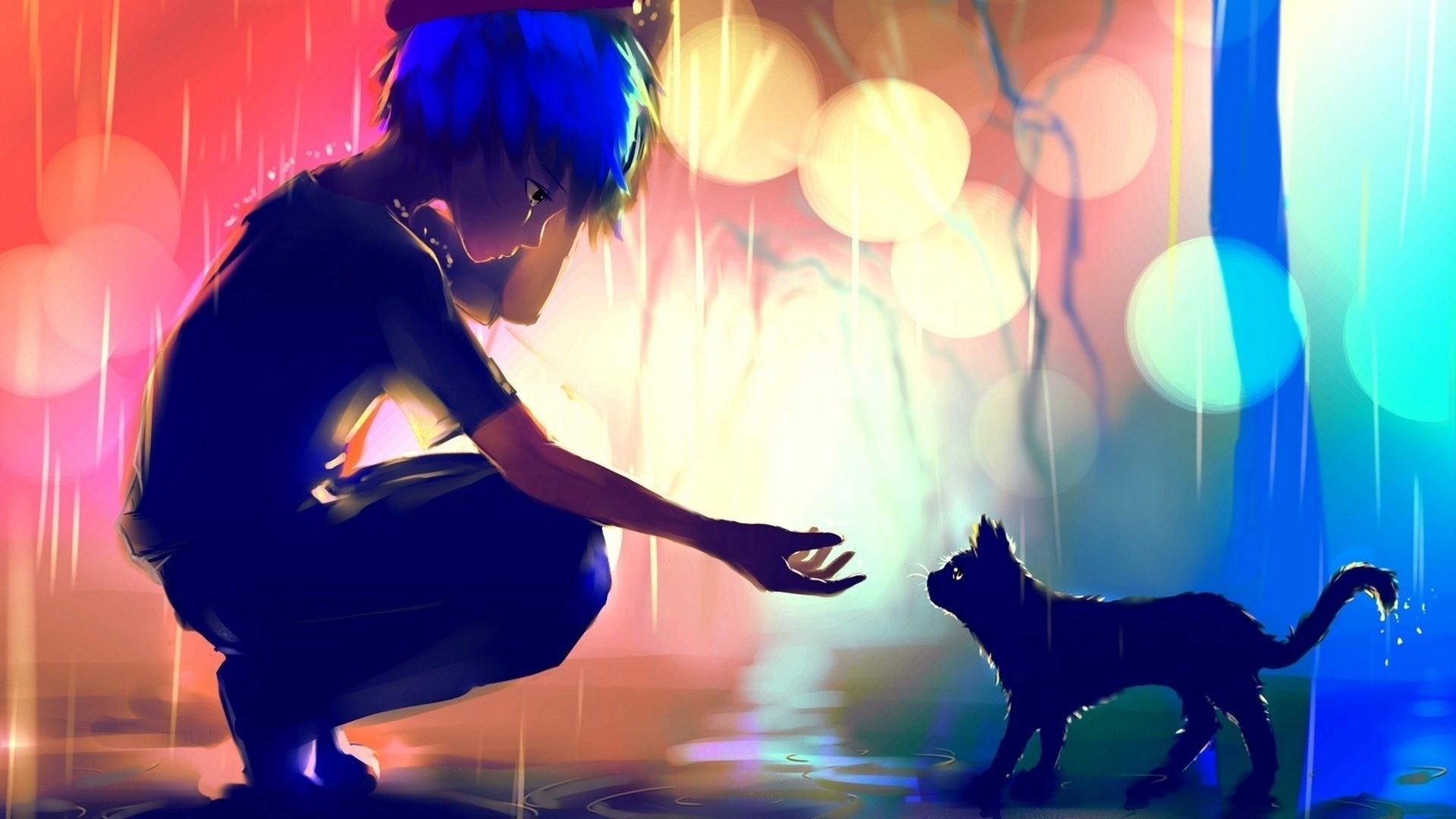 Anime Rain download wallpaper image