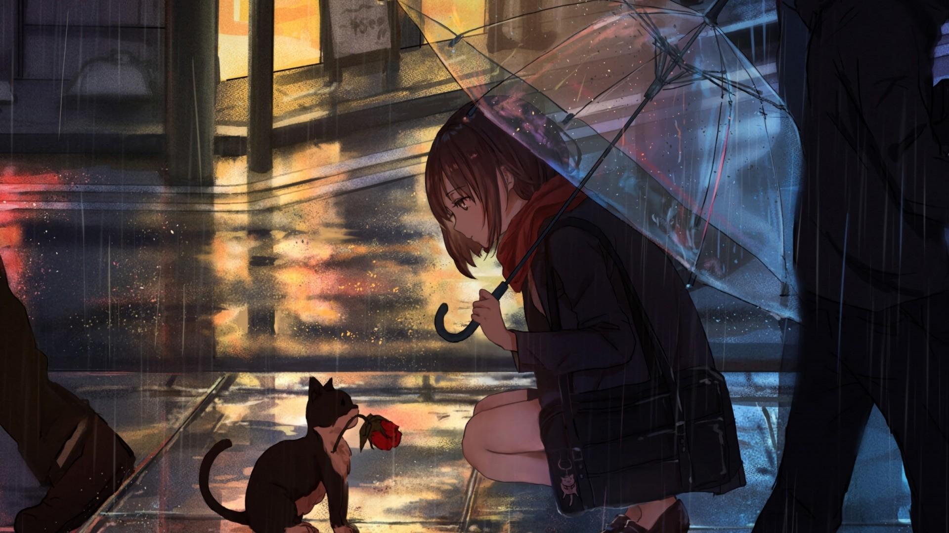 Anime Rain Background Wallpaper