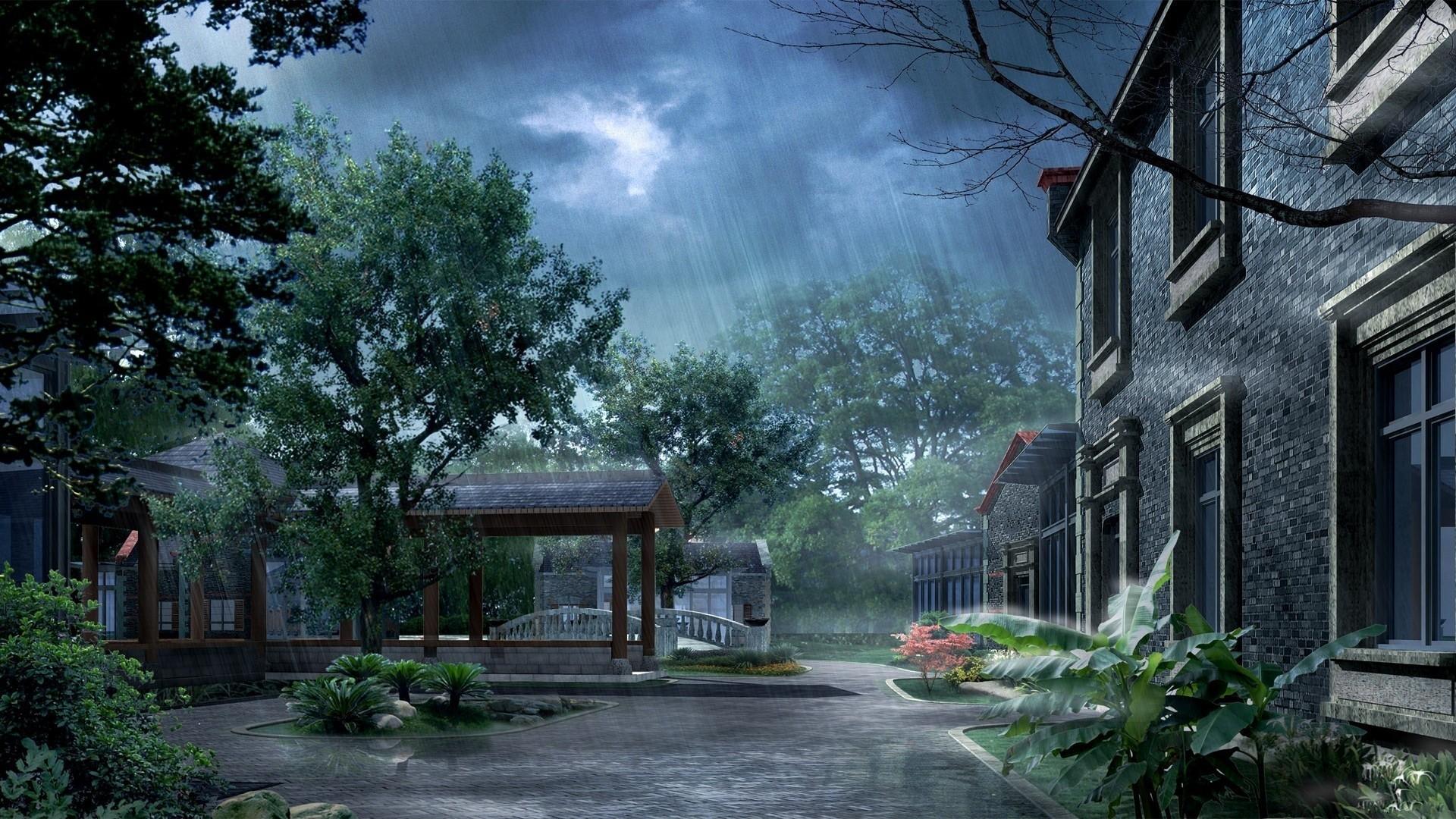 Anime Rain Free Desktop Wallpaper