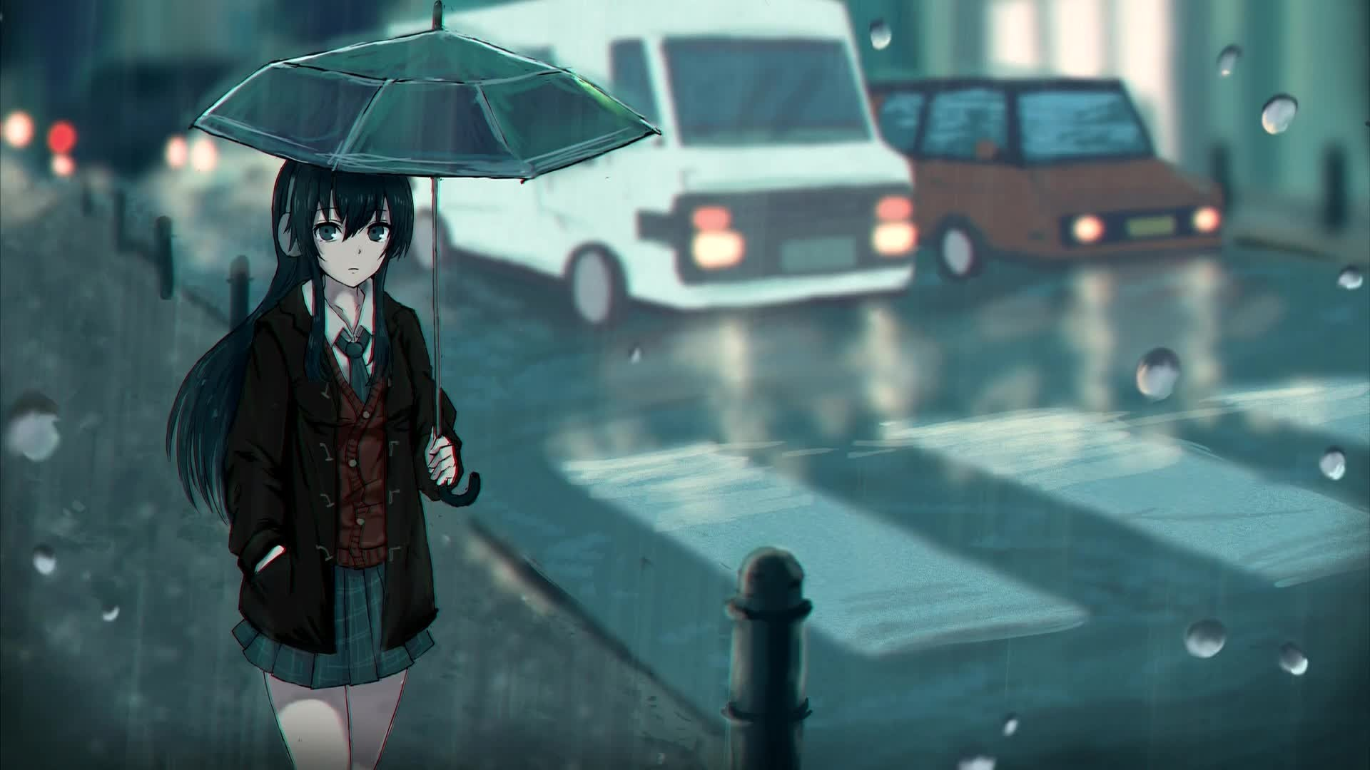 Anime Rain Full HD Wallpaper