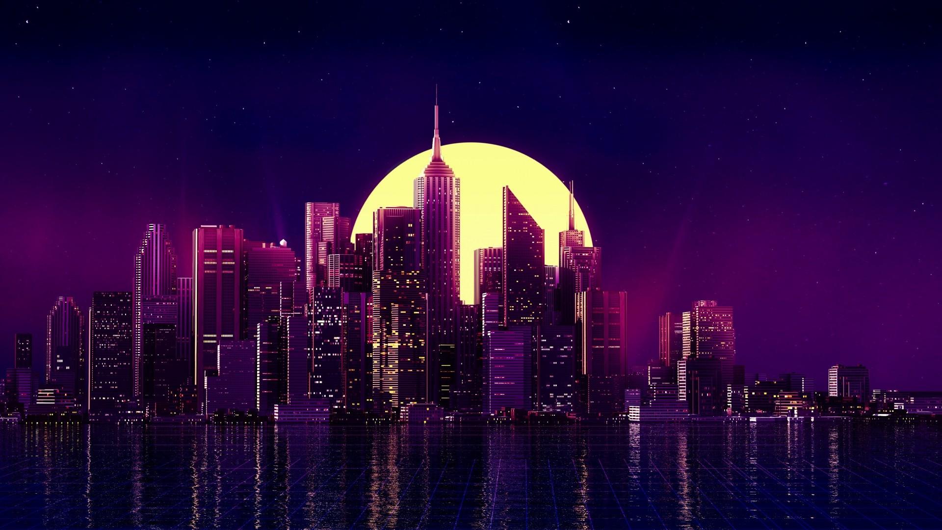 Neon City Background Wallpaper
