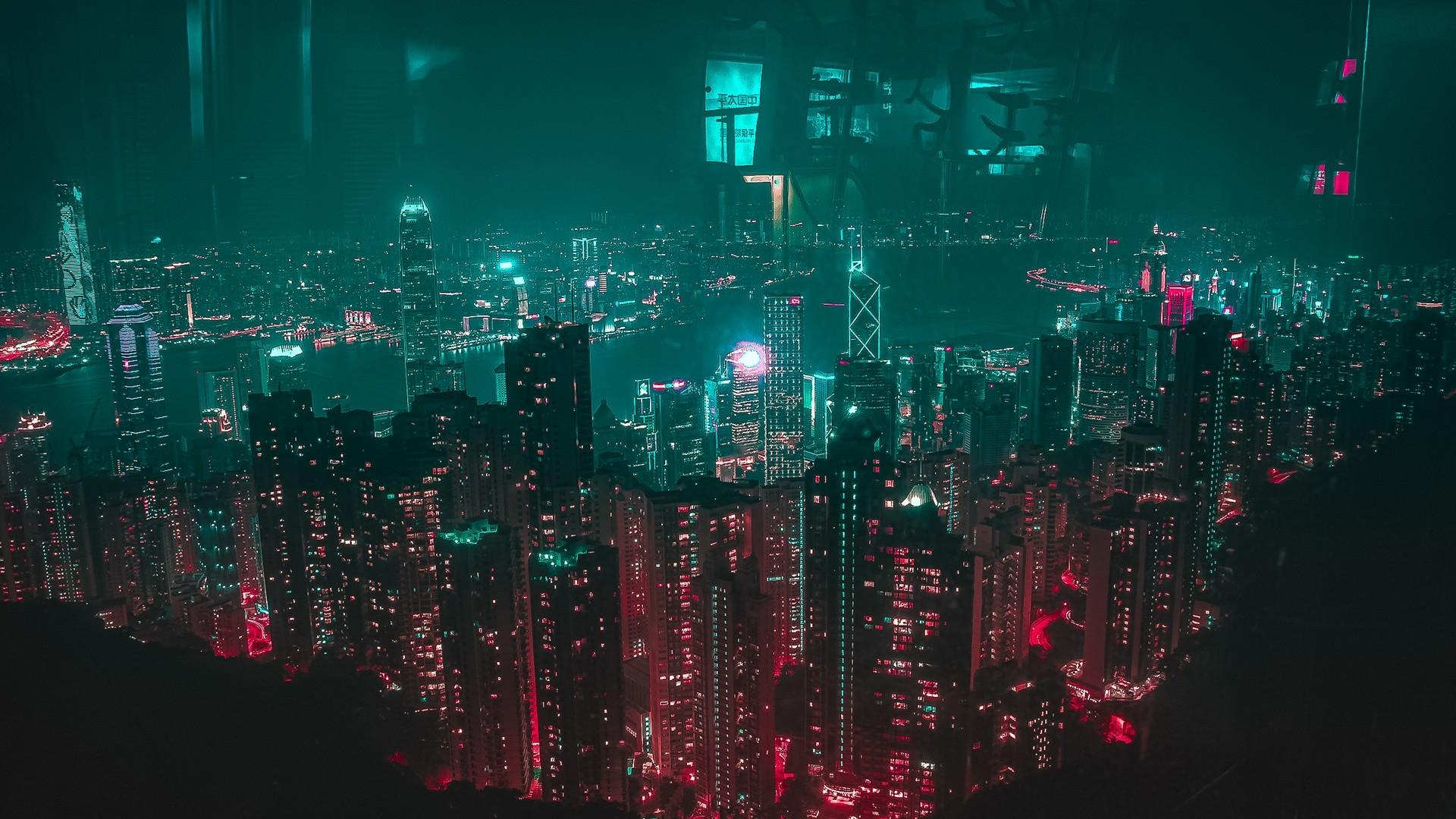 Neon City full wallpaper