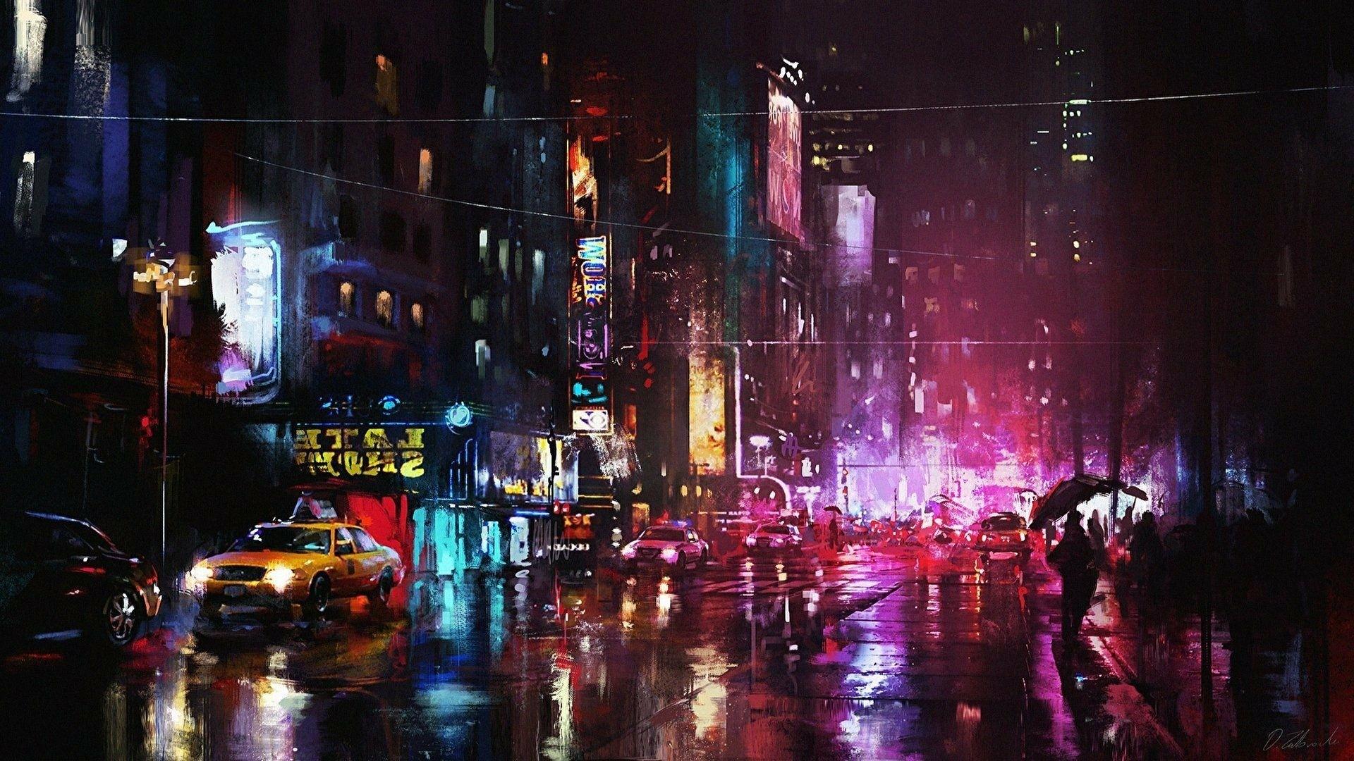 Neon City desktop wallpaper download