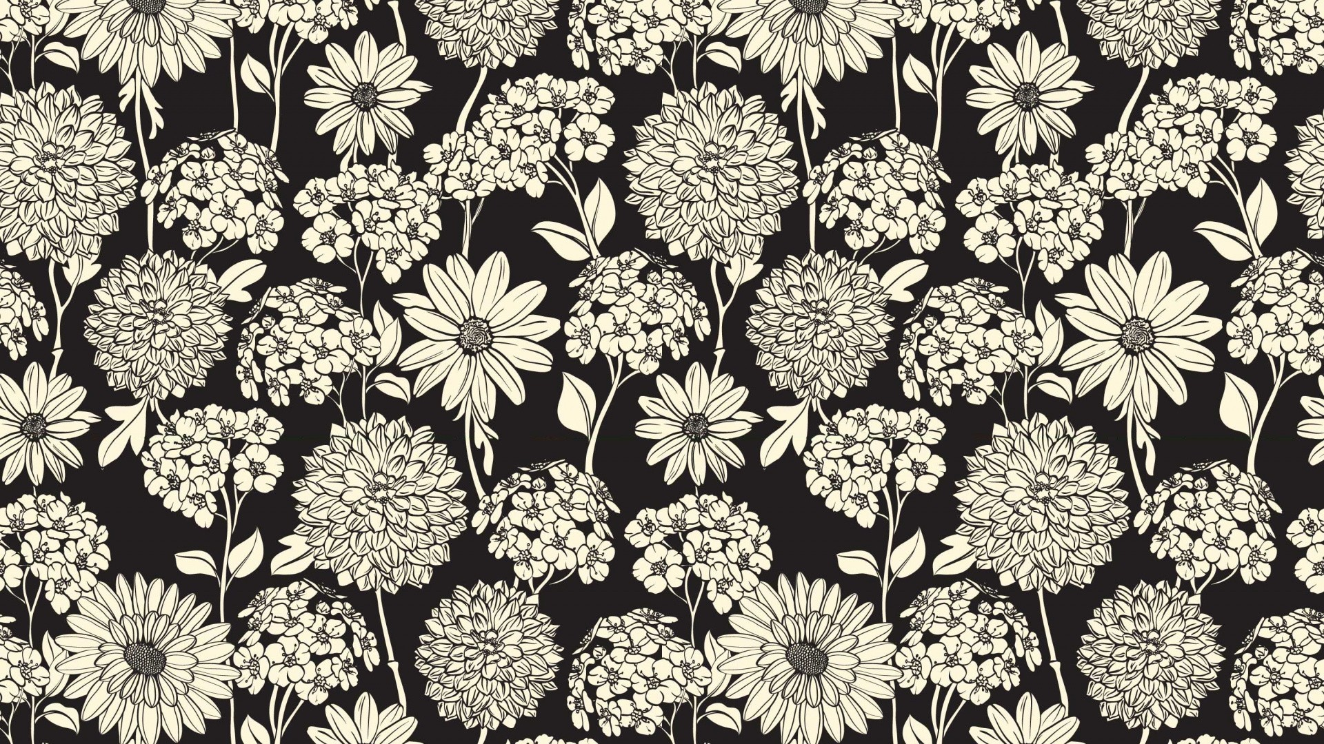 Black And White Floral Background Wallpaper