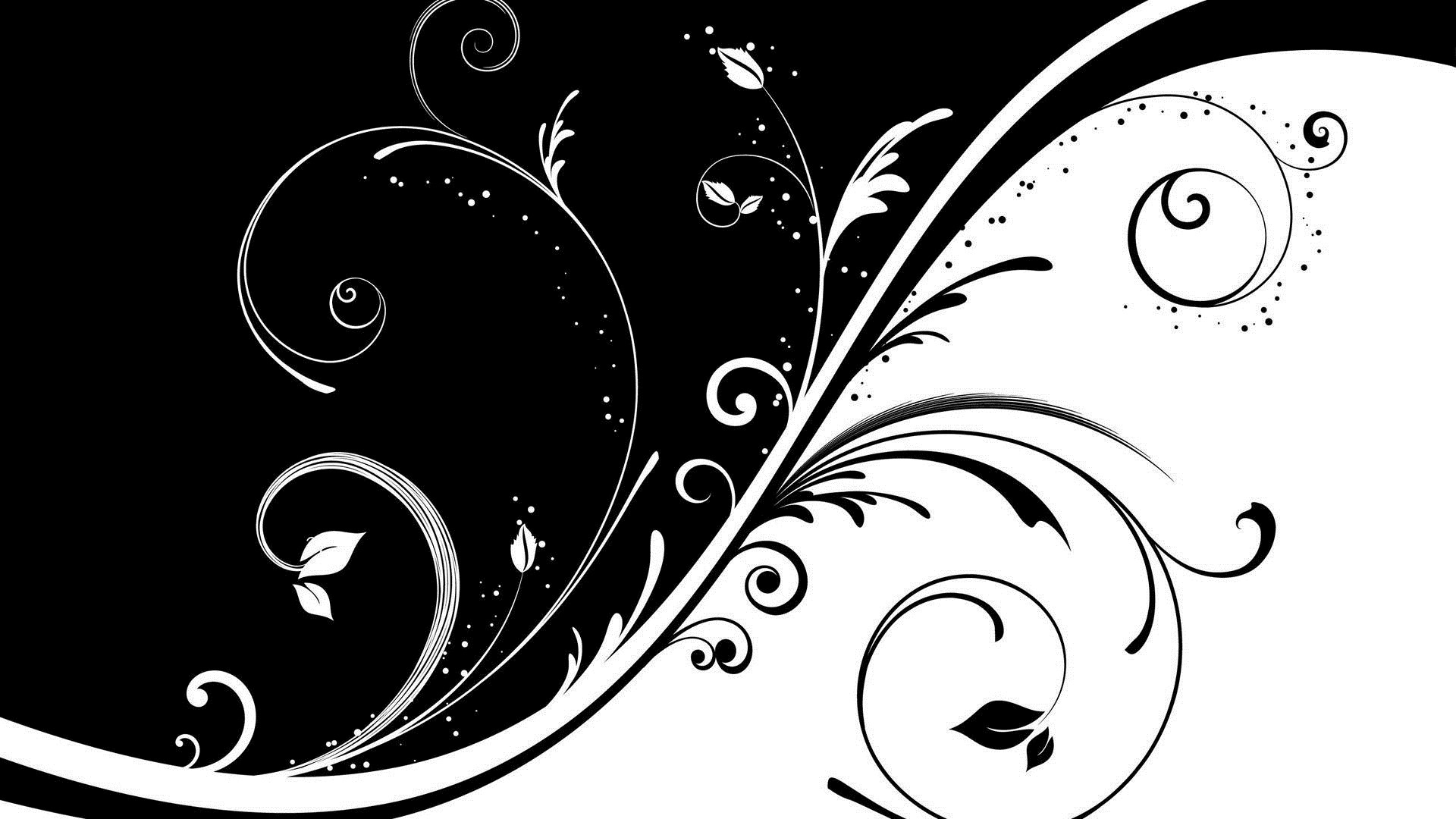 Black And White Floral HD Wallpaper