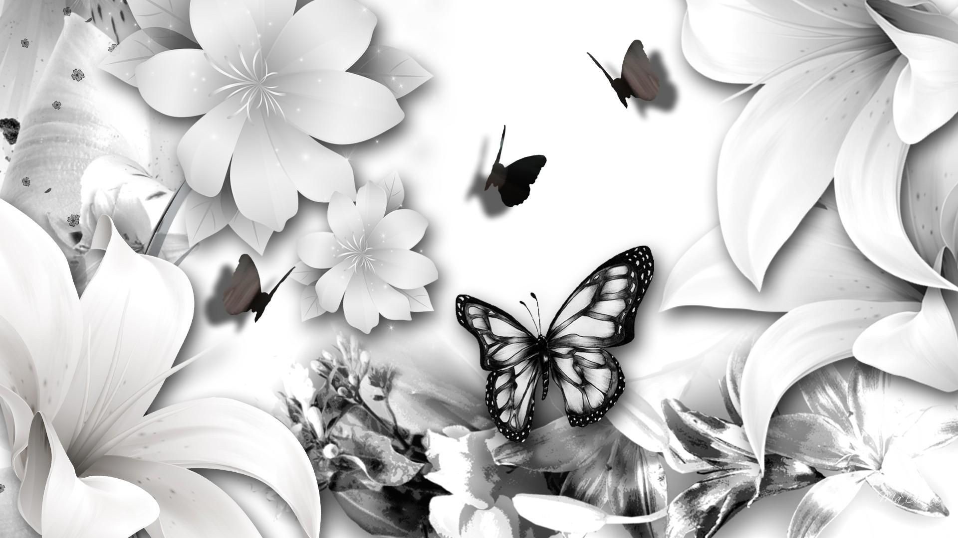 Black And White Floral wallpaper photo hd
