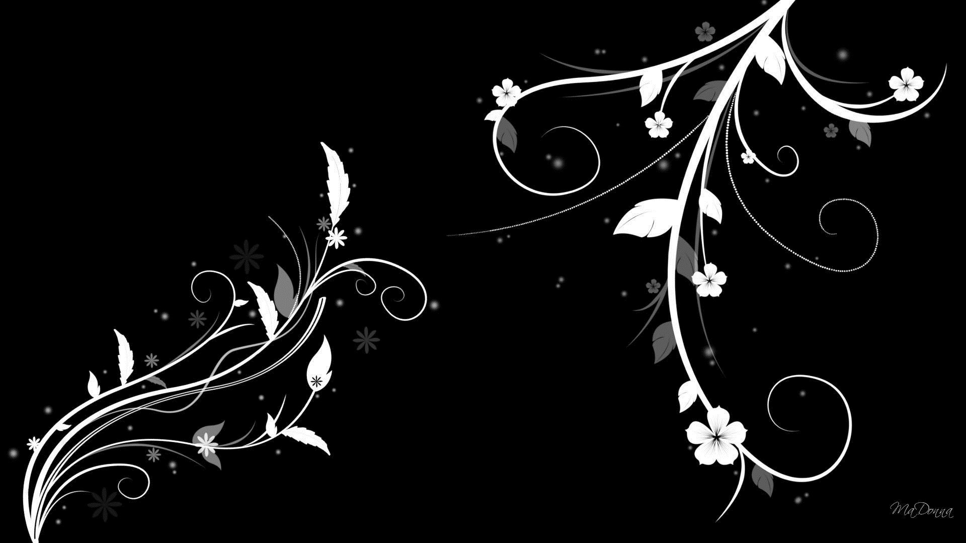 Black And White Floral Wallpaper image hd