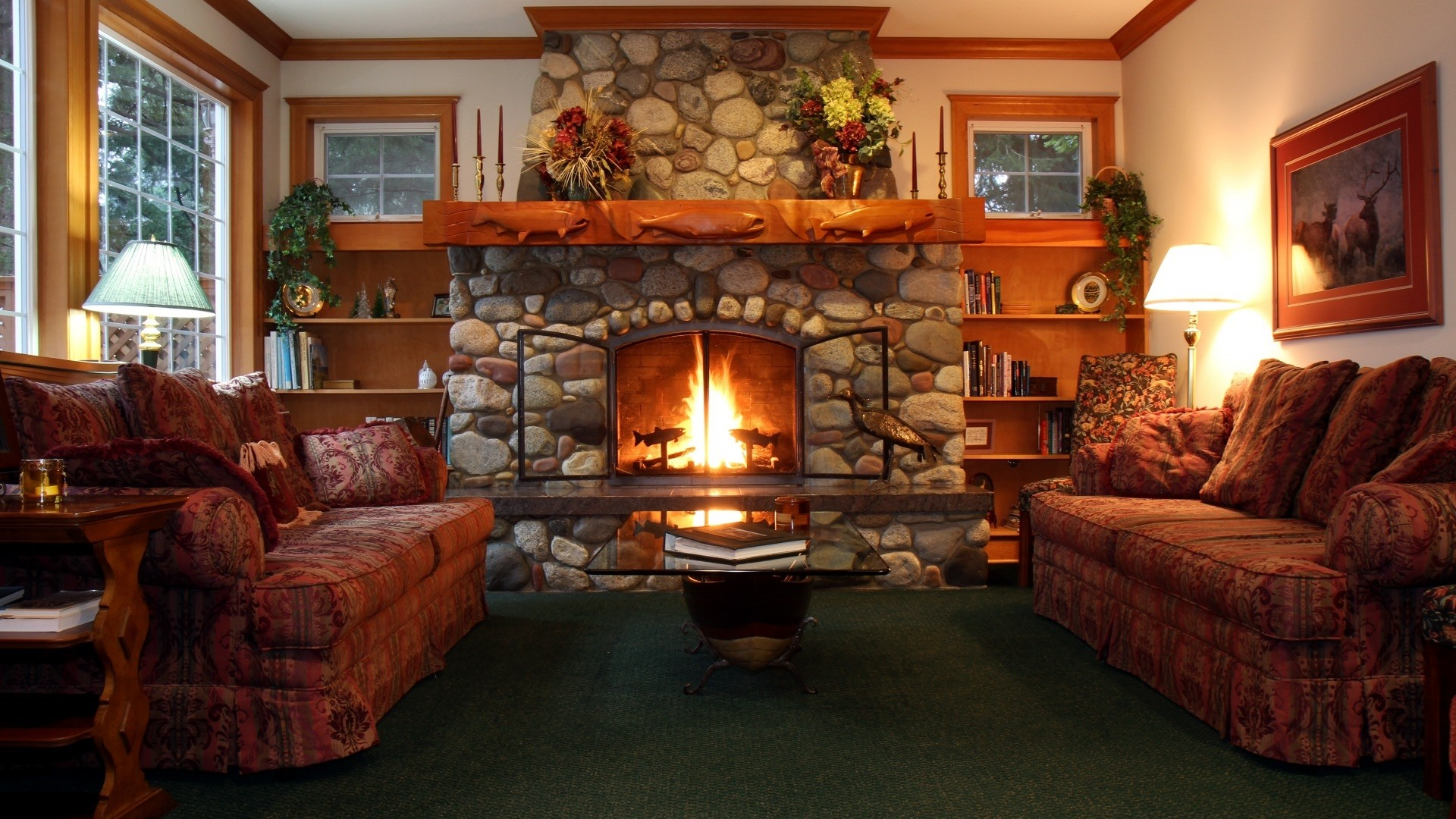 Fireplace a wallpaper
