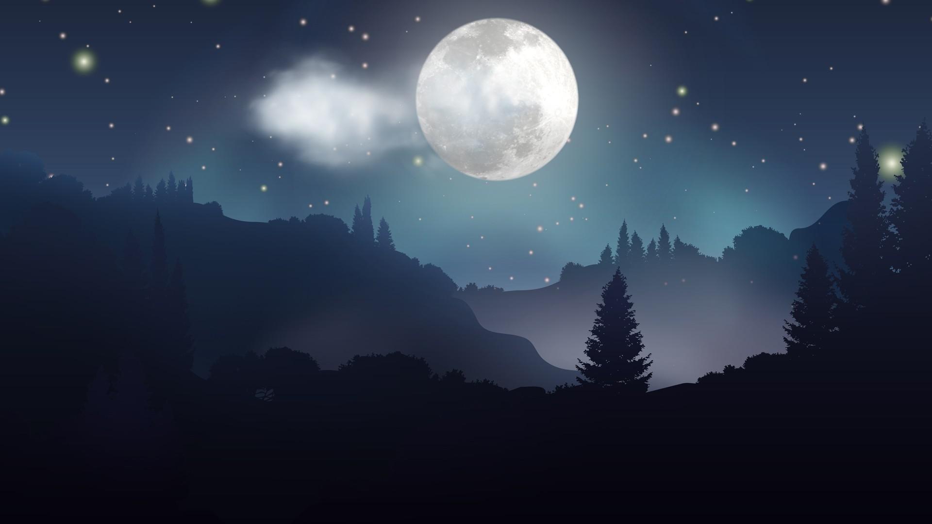 Moon And Stars PC Wallpaper HD