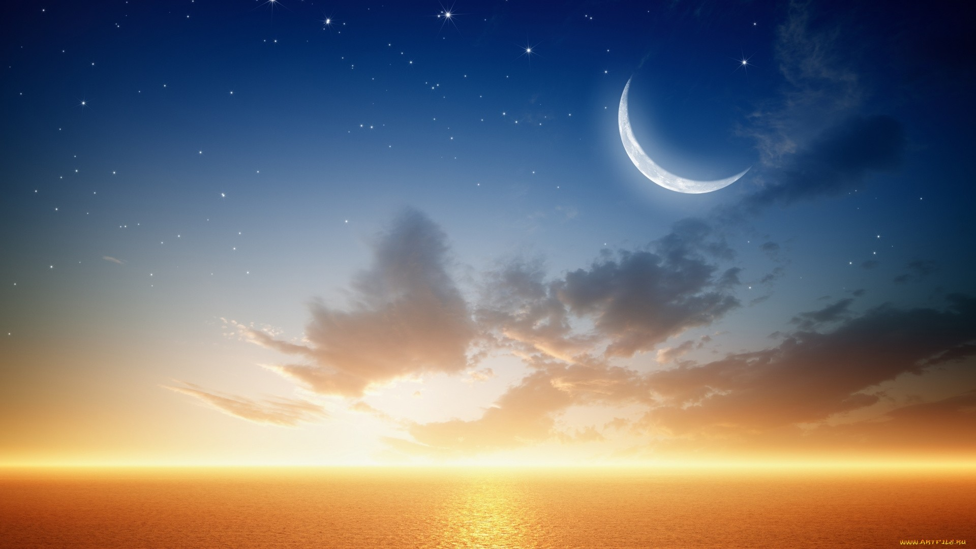 Moon And Stars Wallpaper for pc