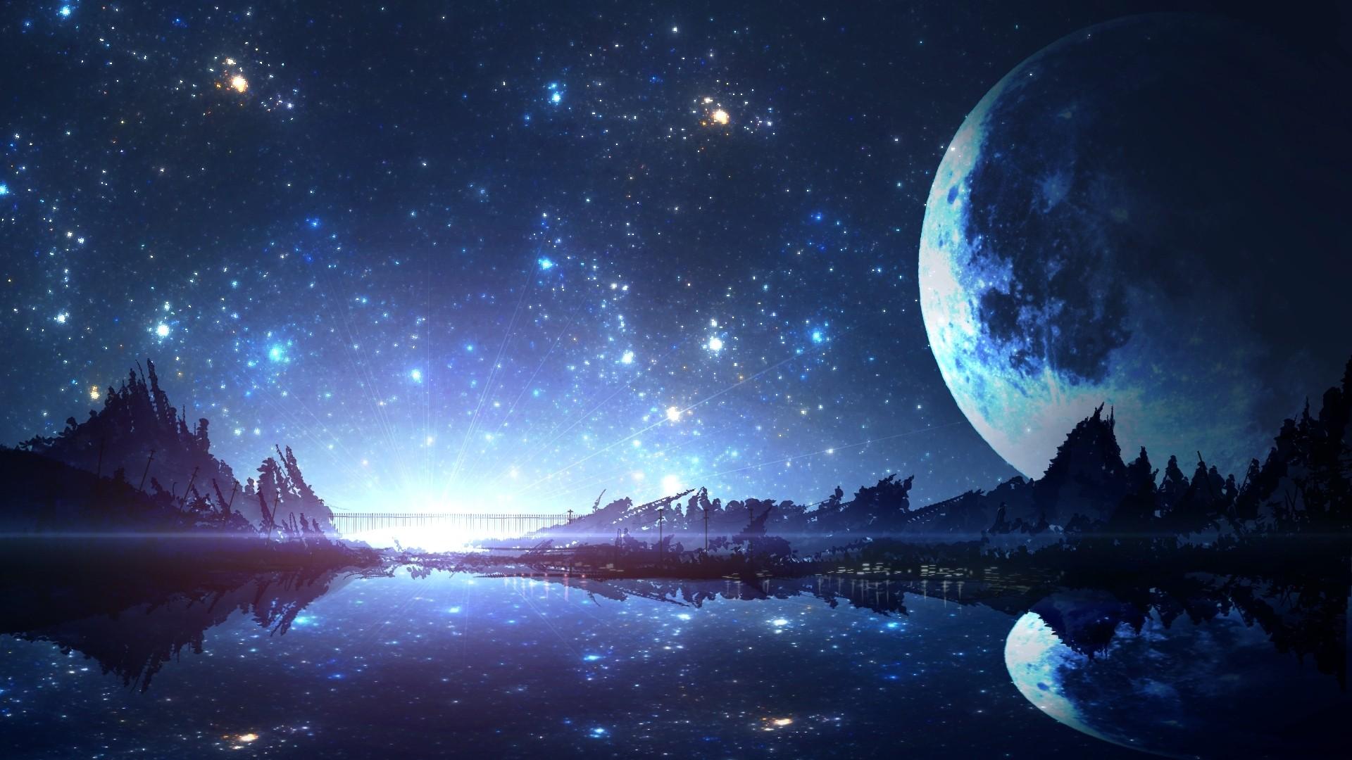 Moon And Stars HD Wallpaper