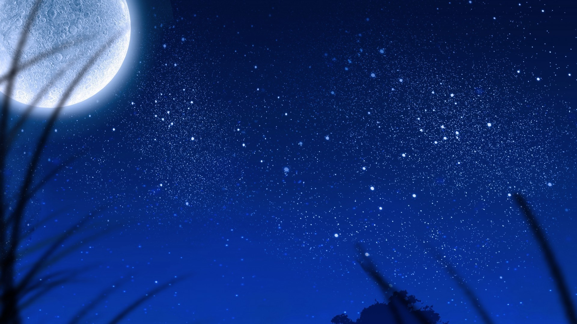 Moon And Stars PC Wallpaper