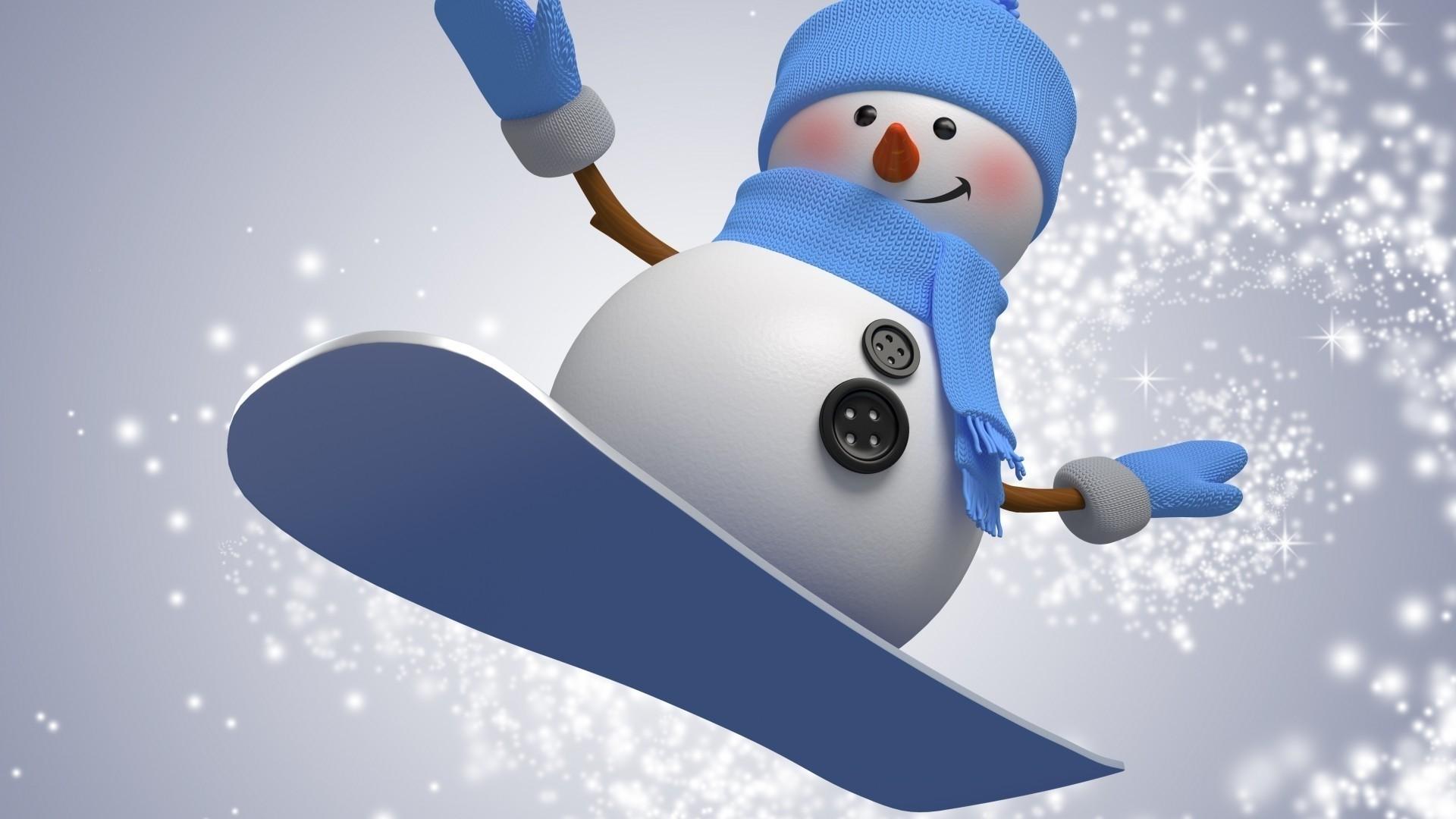 Snowman Full HD Wallpaper