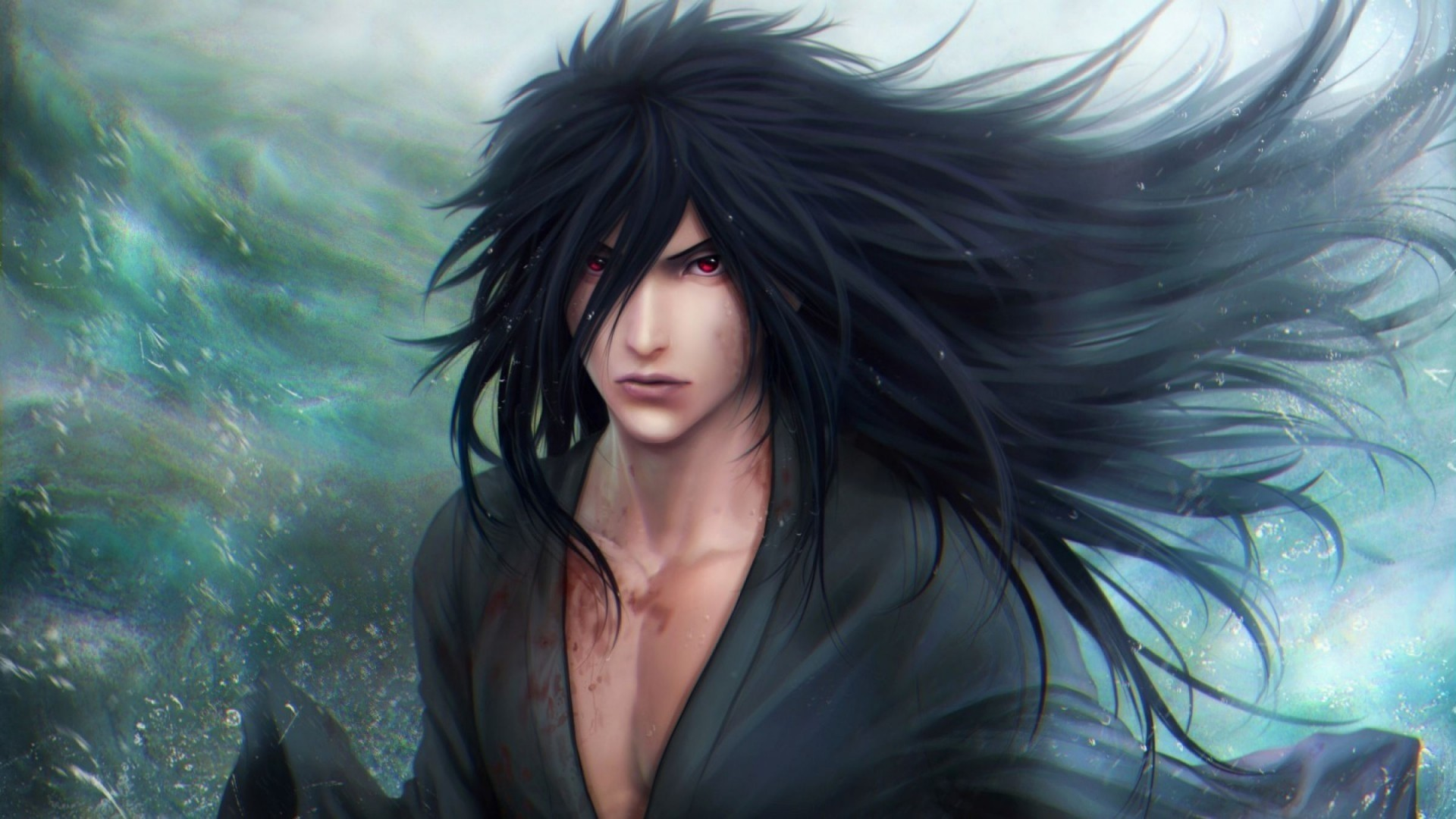 Anime Guy With Black Hair Background