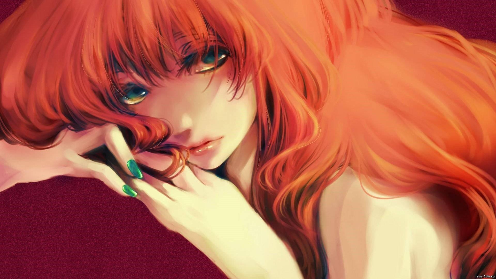 Red Hair Anime Girl Background Wallpaper