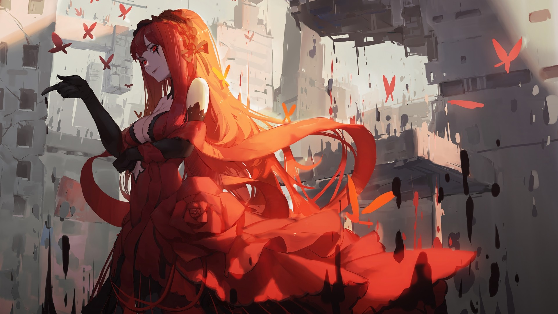 Red Hair Anime Girl Free Wallpaper and Background
