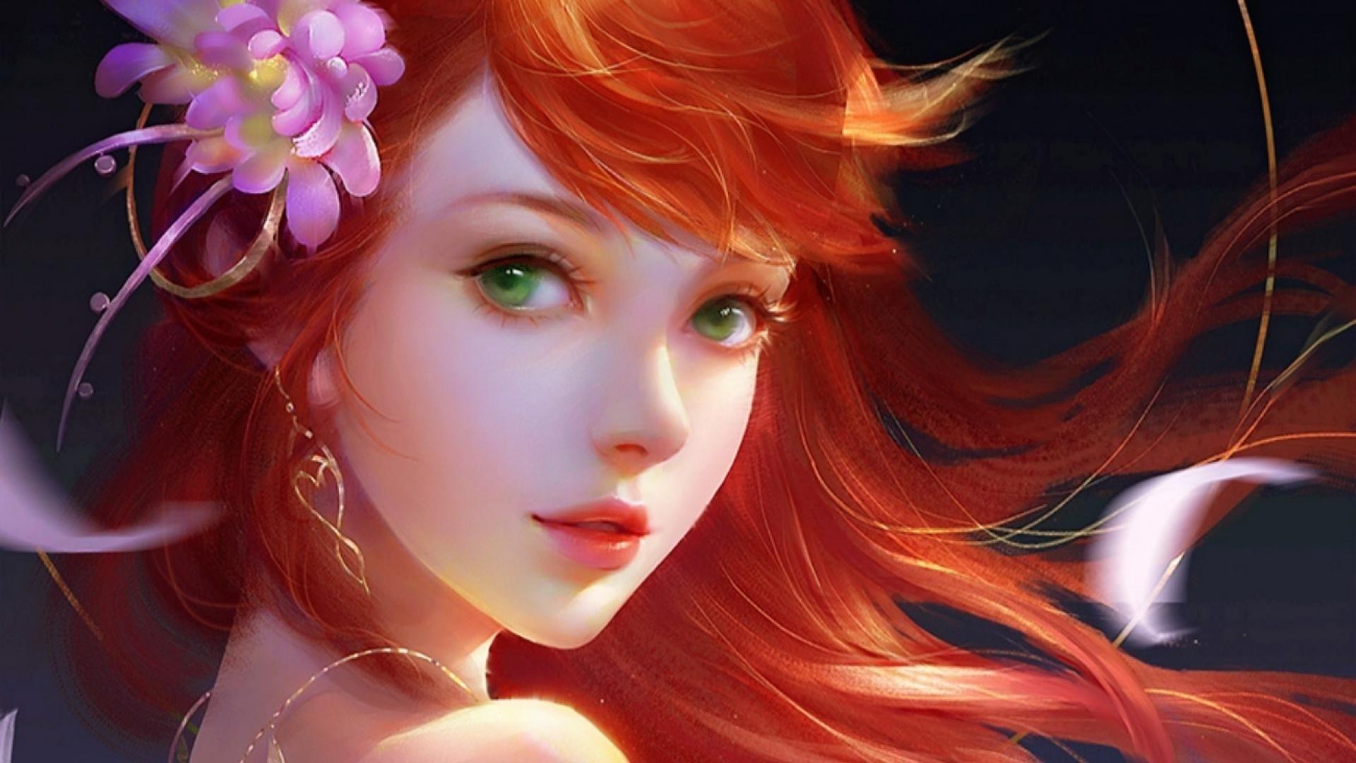 Red Hair Anime Girl Wallpaper for pc