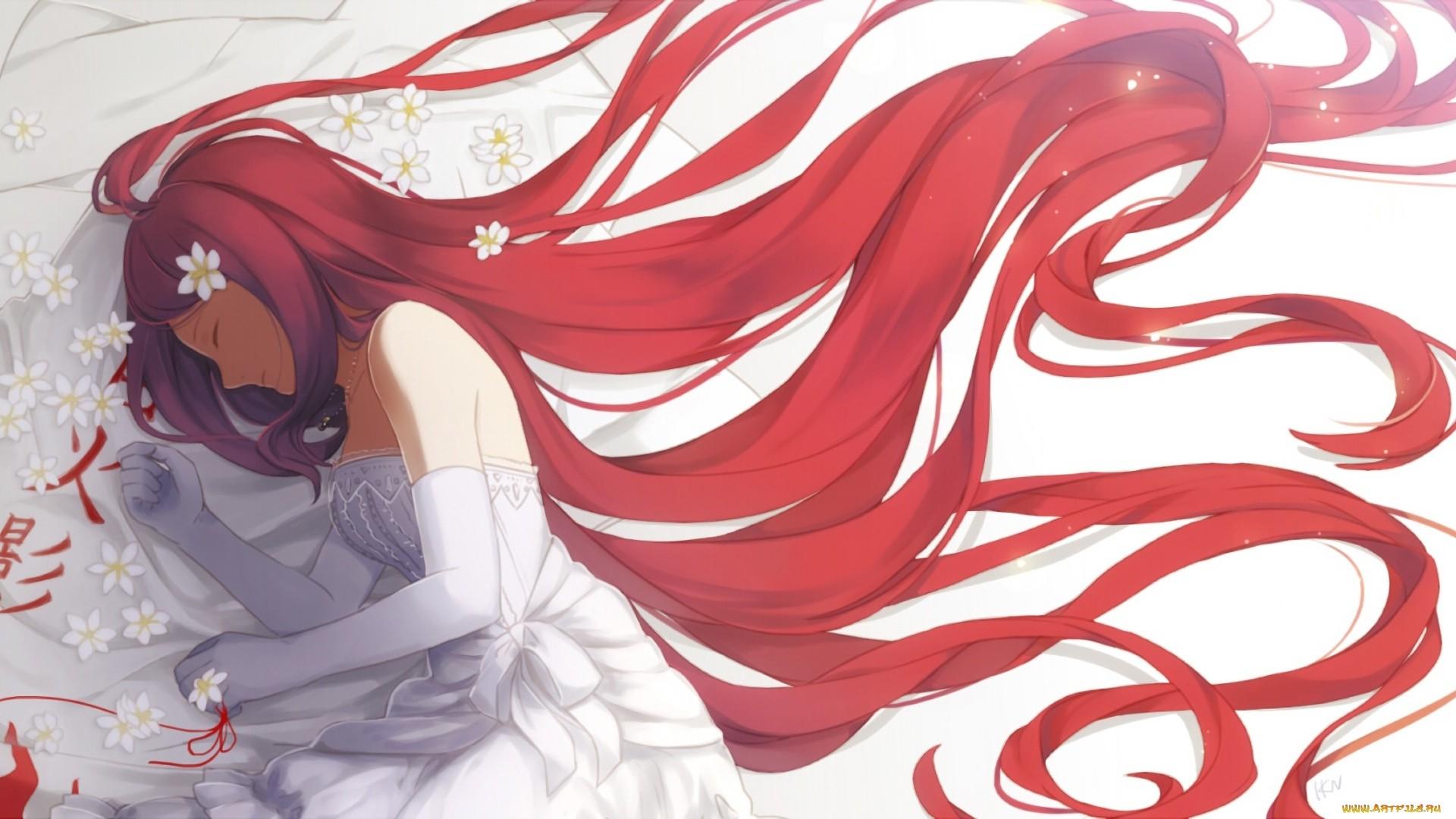 Red Hair Anime Girl hd desktop wallpaper