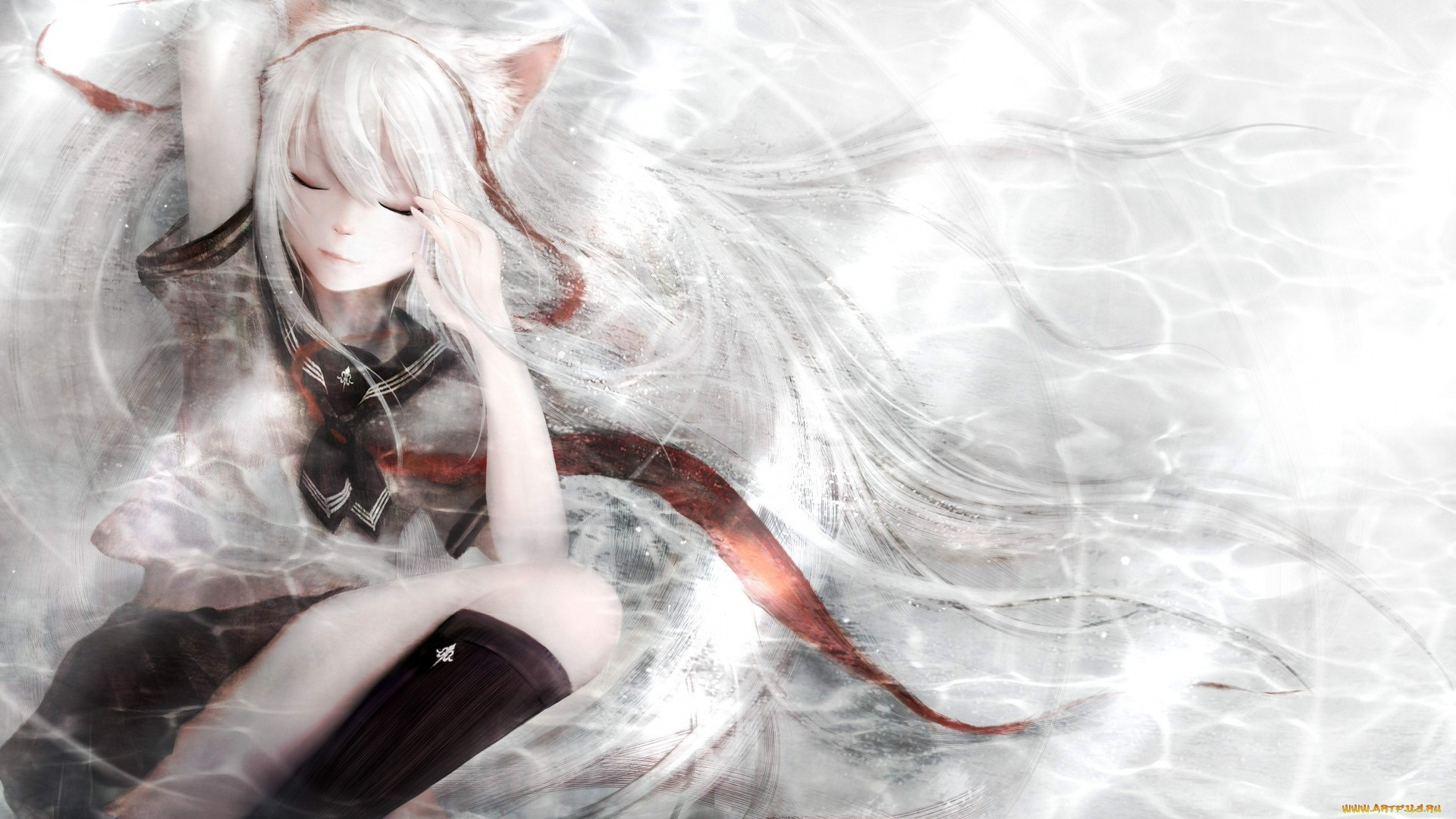 White Hair Anime Girl Free Wallpaper and Background