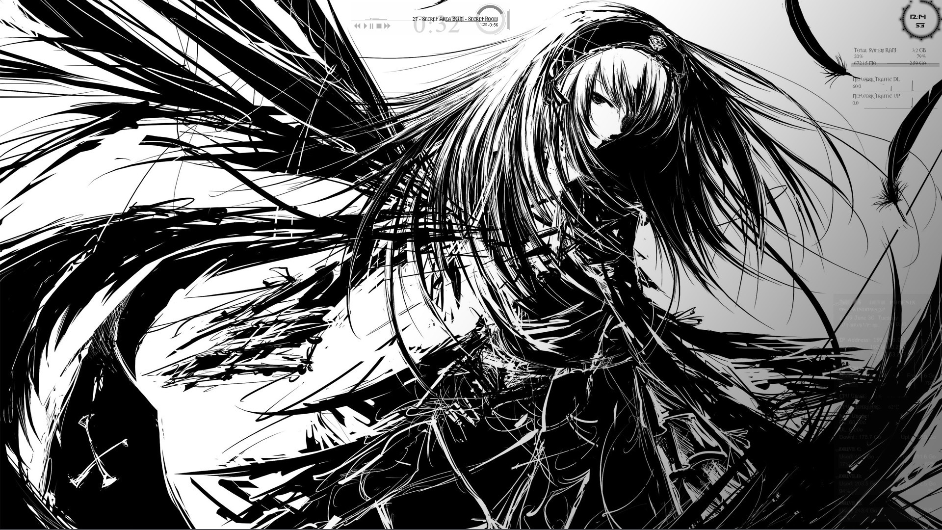Anime Black And White Desktop wallpaper