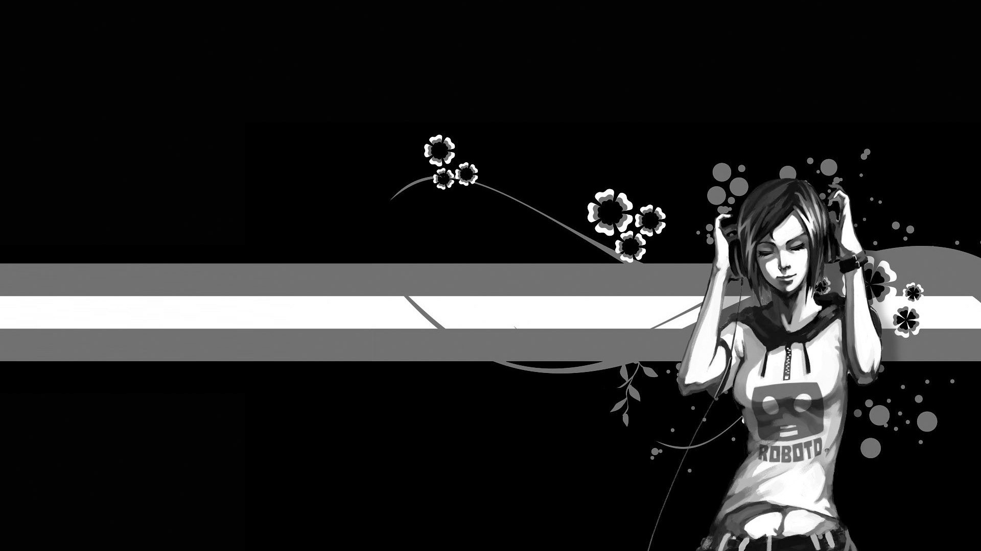 Anime Black And White Background Wallpaper