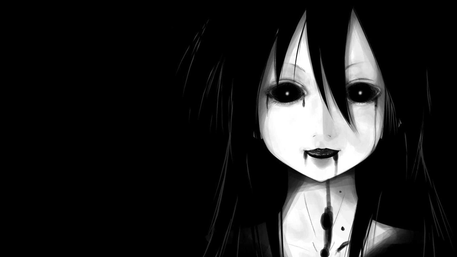 Anime Black And White Full HD Wallpaper