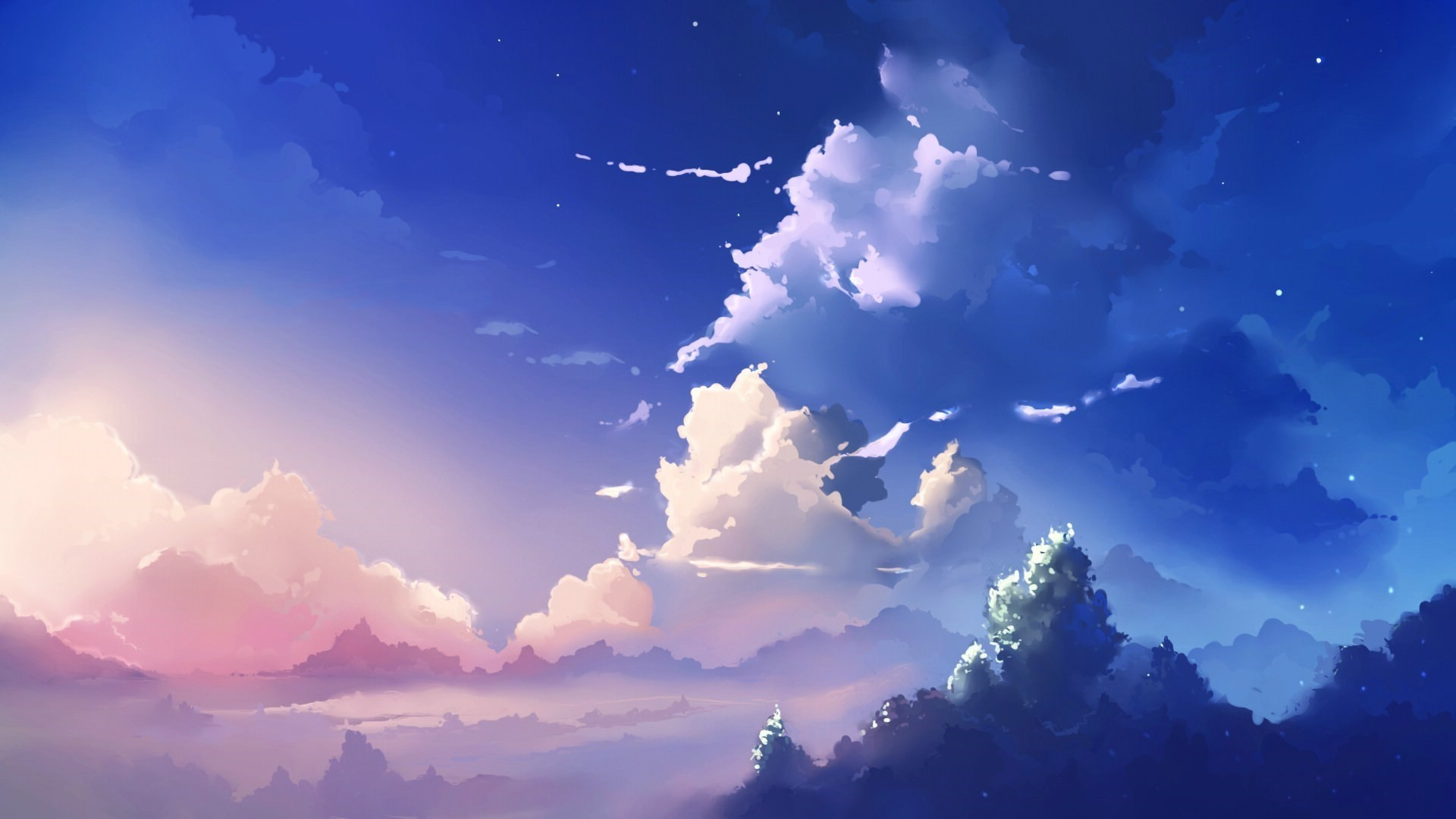 Anime Clouds Free Wallpaper and Background