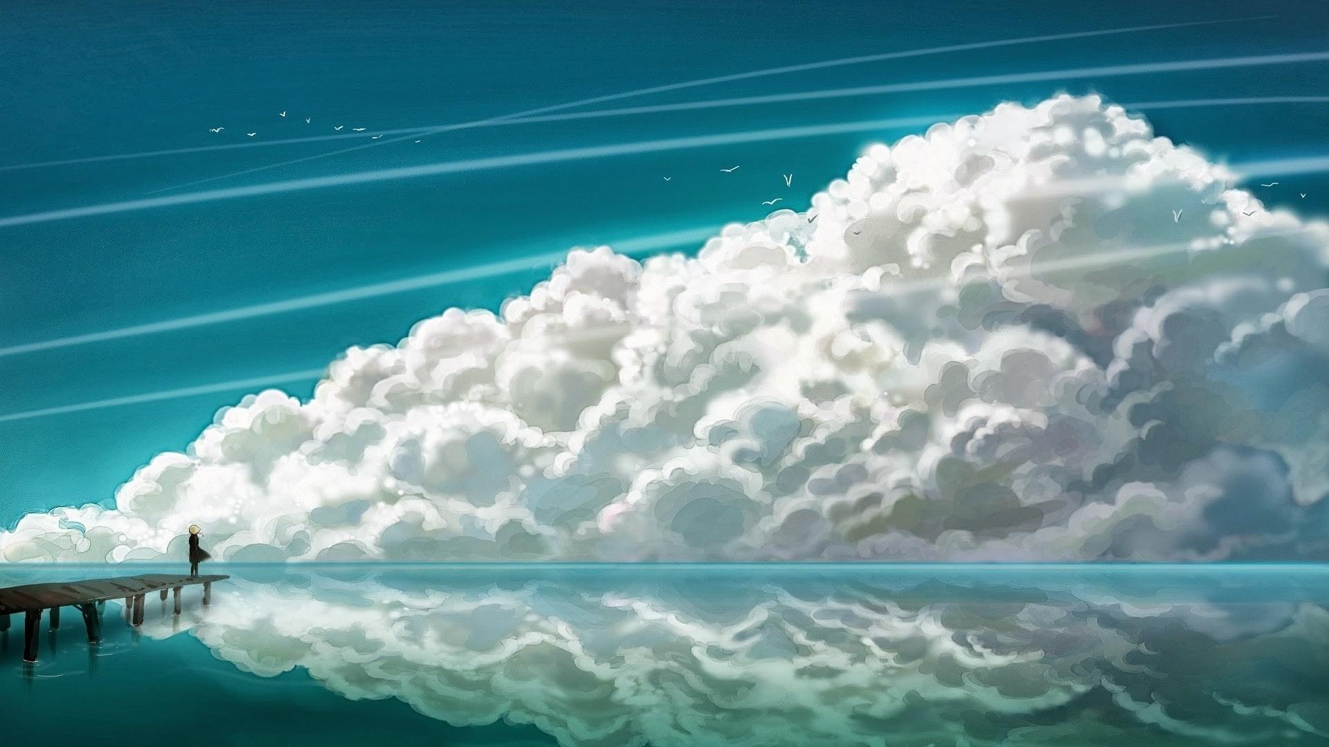 Anime Clouds Full HD Wallpaper
