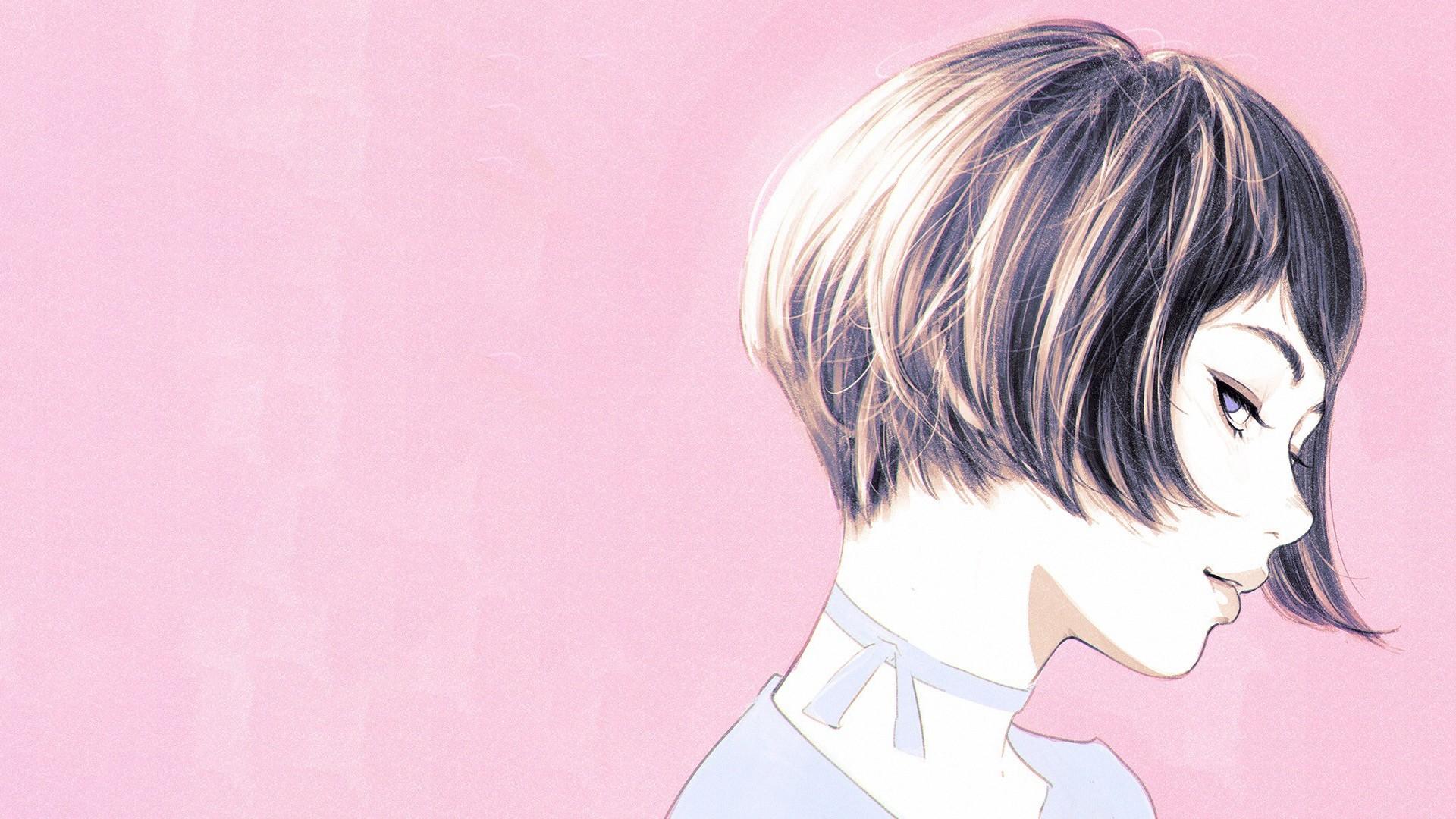 Anime Girl Short Hair PC Wallpaper HD